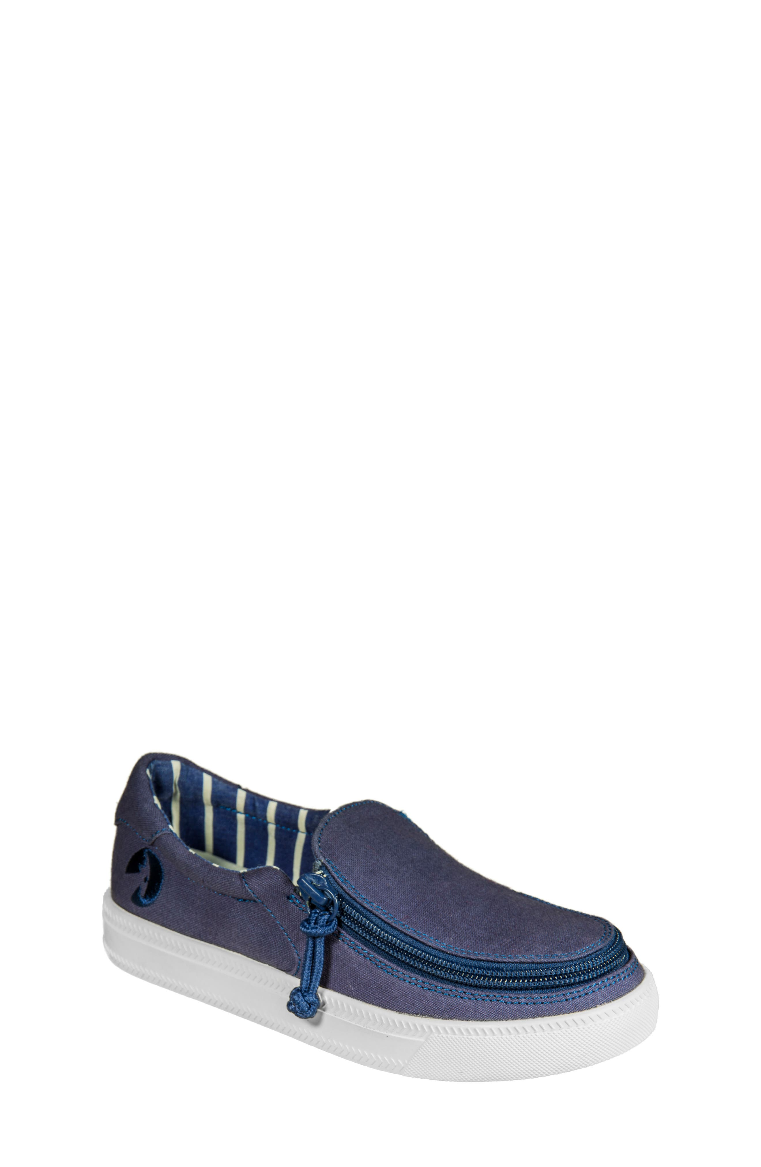 Zip Around Low Top Sneaker,                             Main thumbnail 1, color,                             Navy Canvas