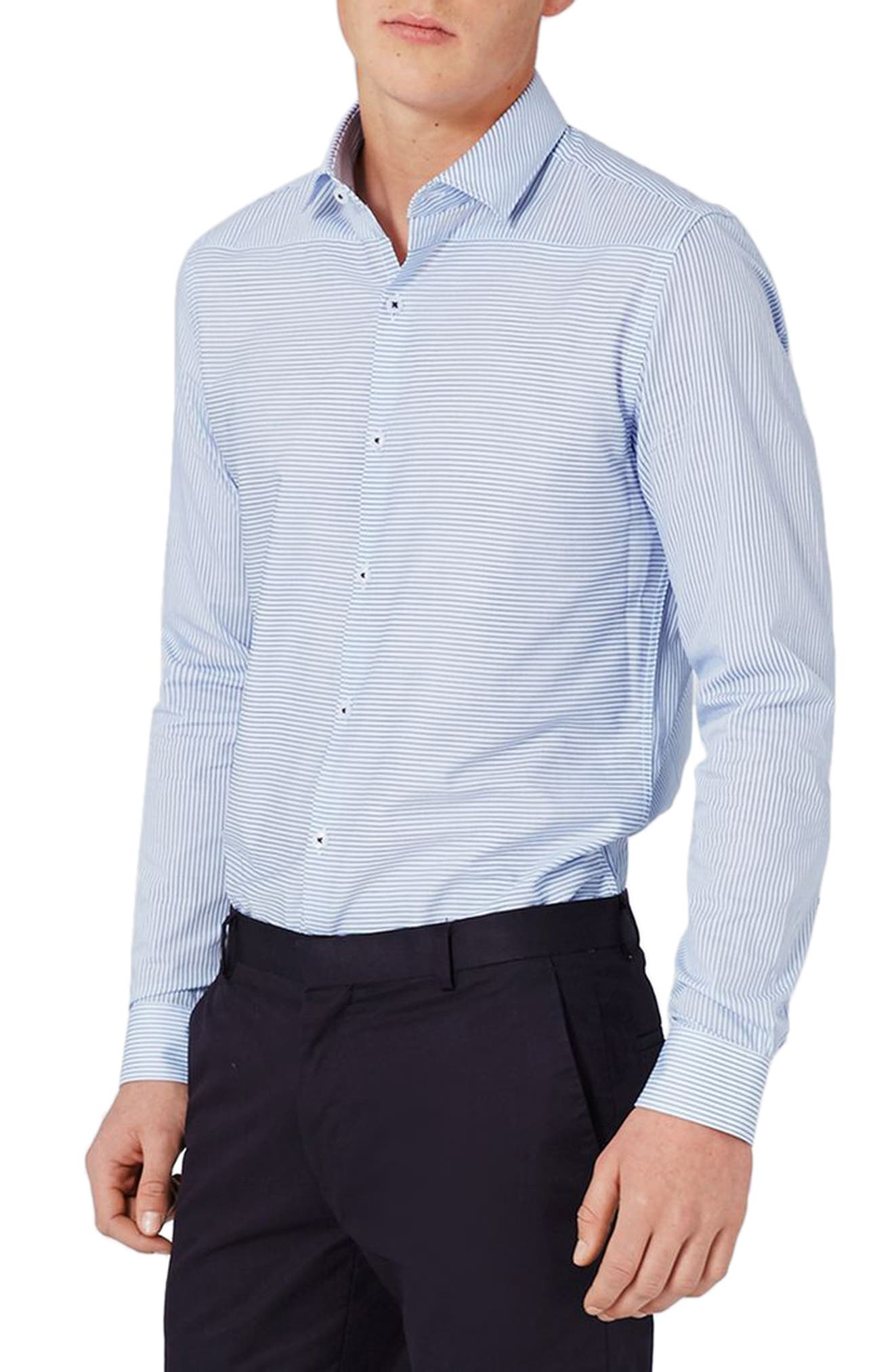 Alternate Image 2  - Topman Slim Fit Bias Stripe Dress Shirt