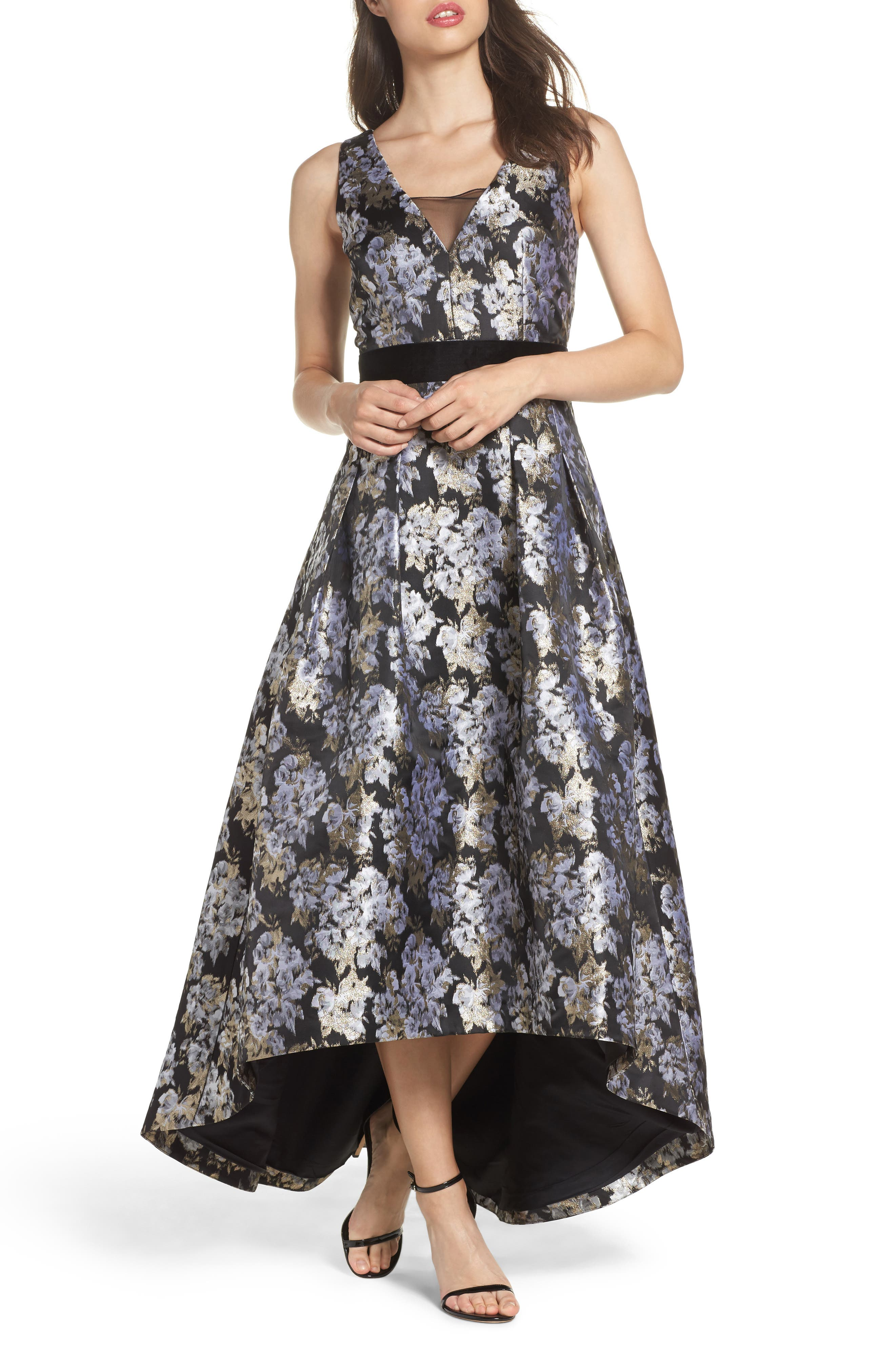 Eliza J Jacquard High/Low Gown