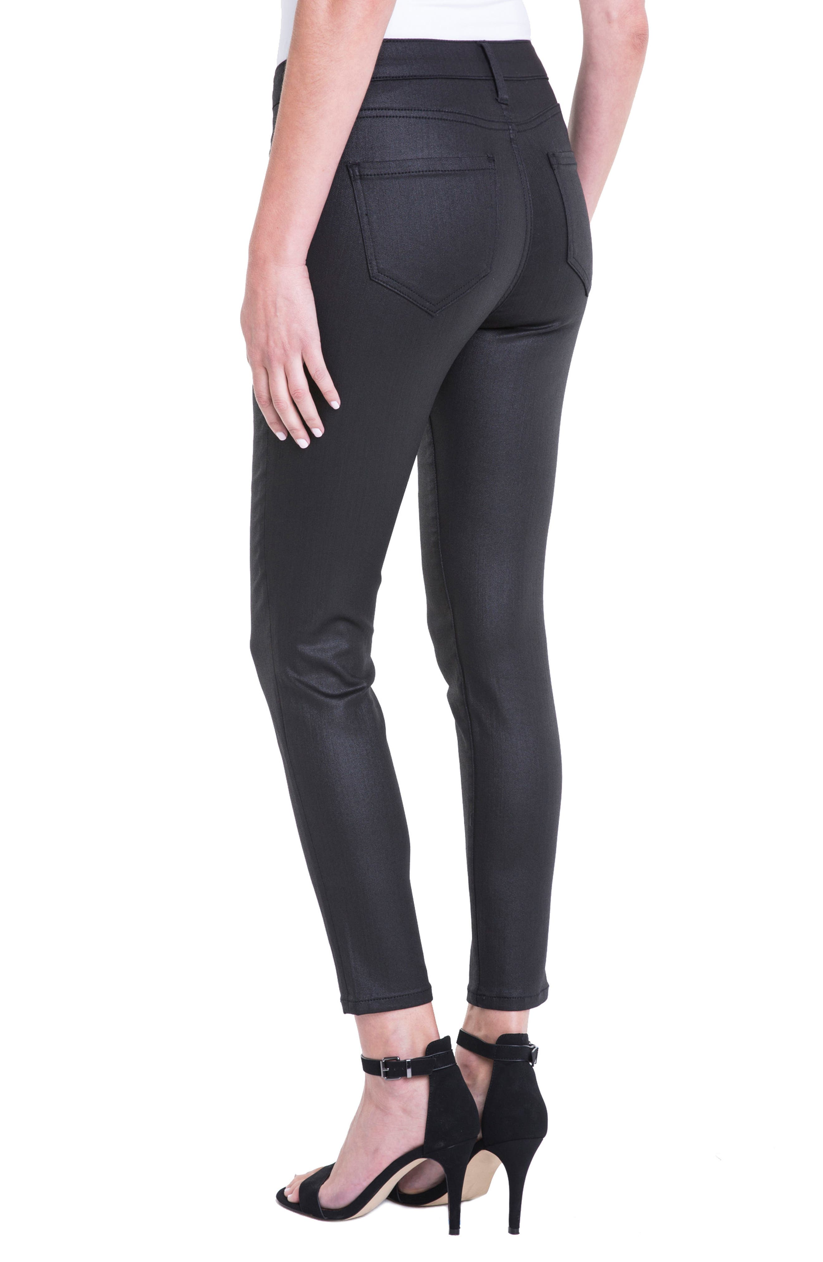 Bridget Coated High Waist Skinny Jeans,                             Alternate thumbnail 4, color,                             Black