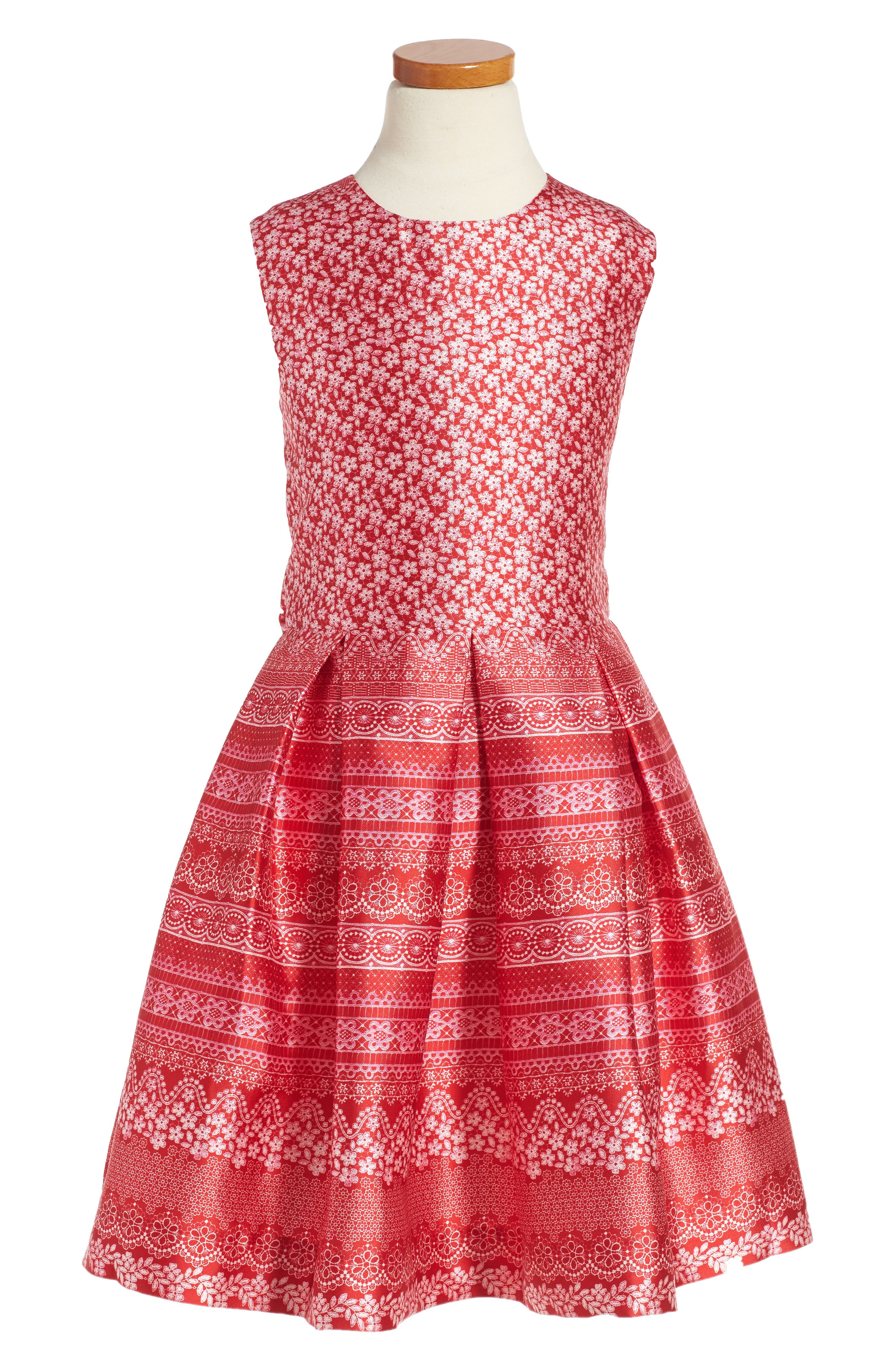 Alternate Image 1 Selected - Oscar de la Renta Lace Bands Mikado Party Dress (Big Girls)