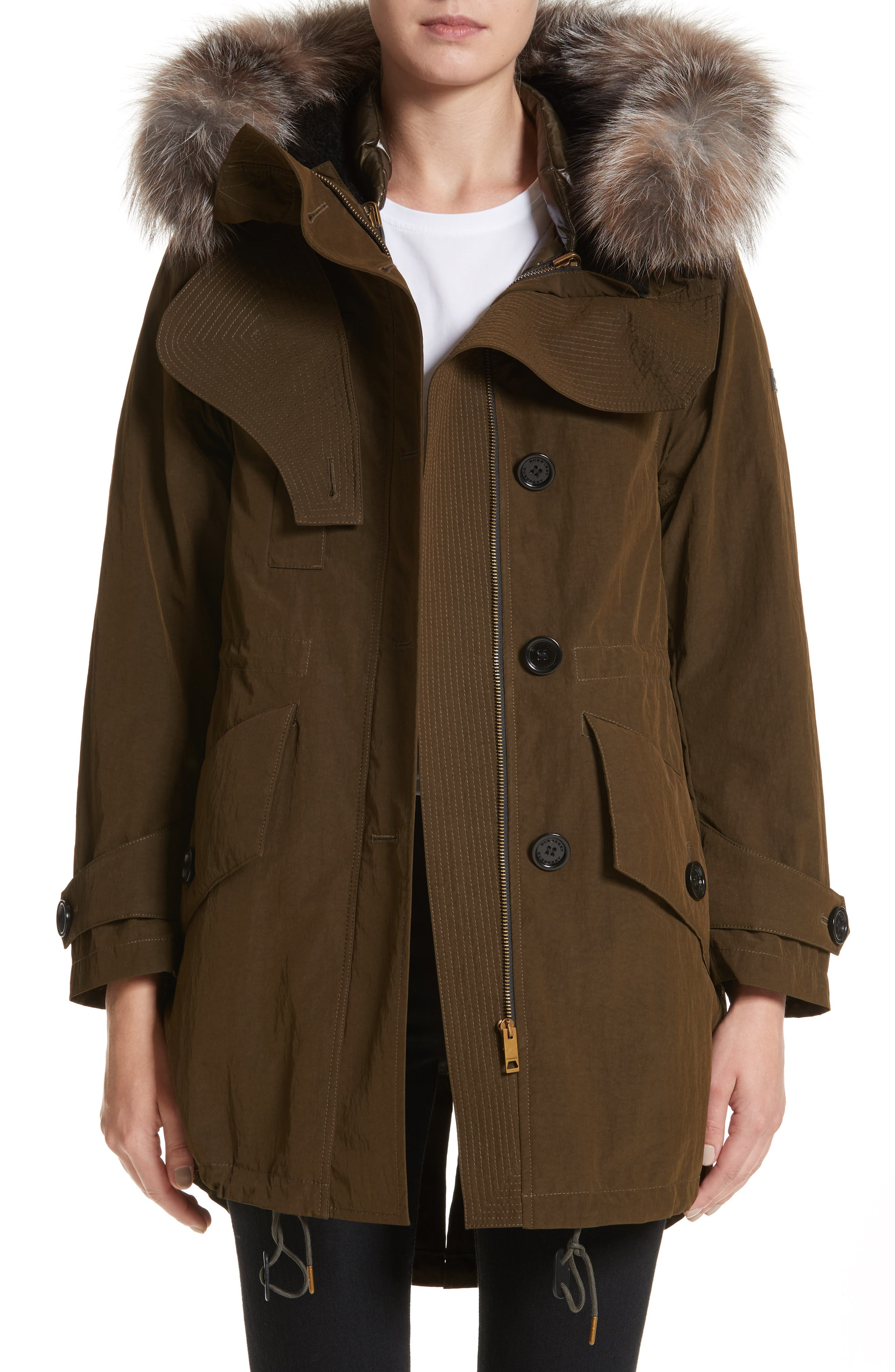 Ramsford 3-in-1 Hooded Parka with Genuine Fox Fur & Genuine Shearling Trim,                         Main,                         color, Dark Olive