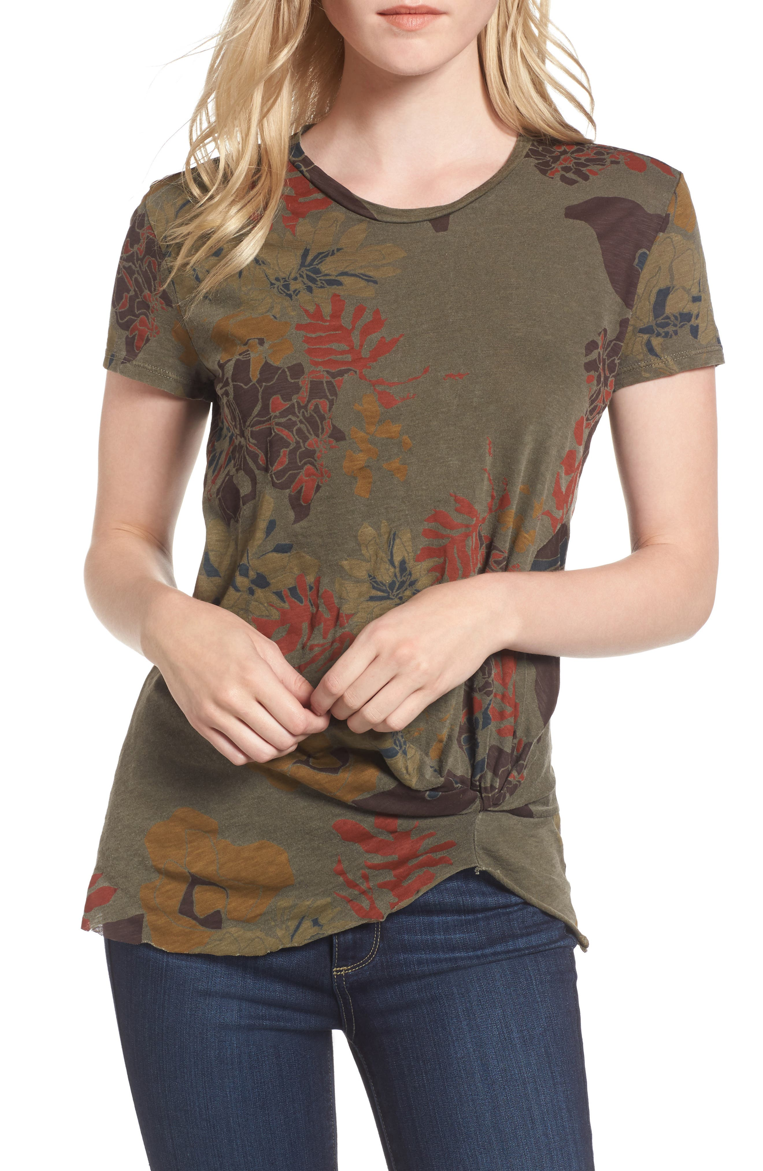 Floral Twist Front Tee,                         Main,                         color, Fern