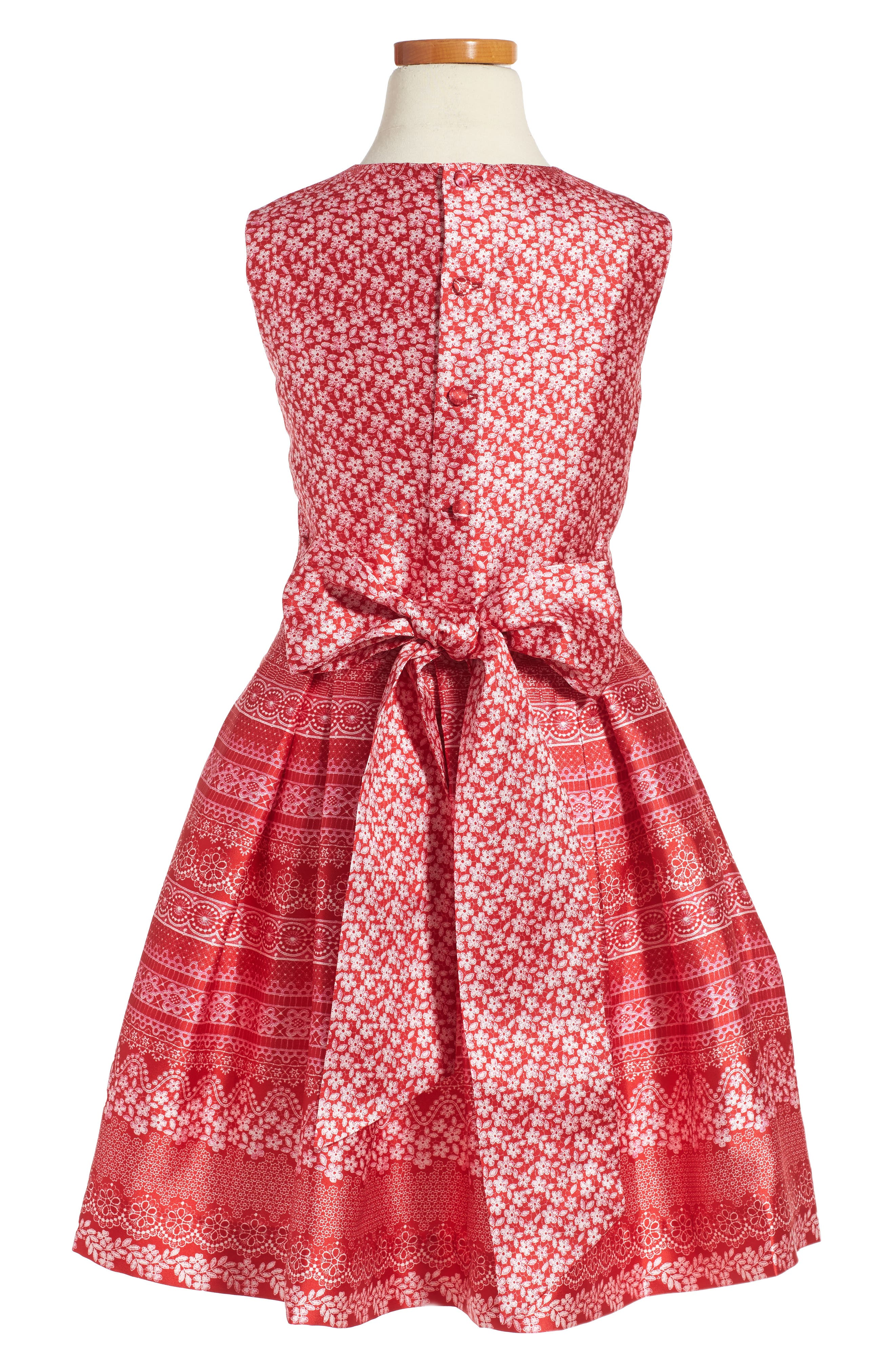 Alternate Image 2  - Oscar de la Renta Lace Bands Mikado Party Dress (Big Girls)