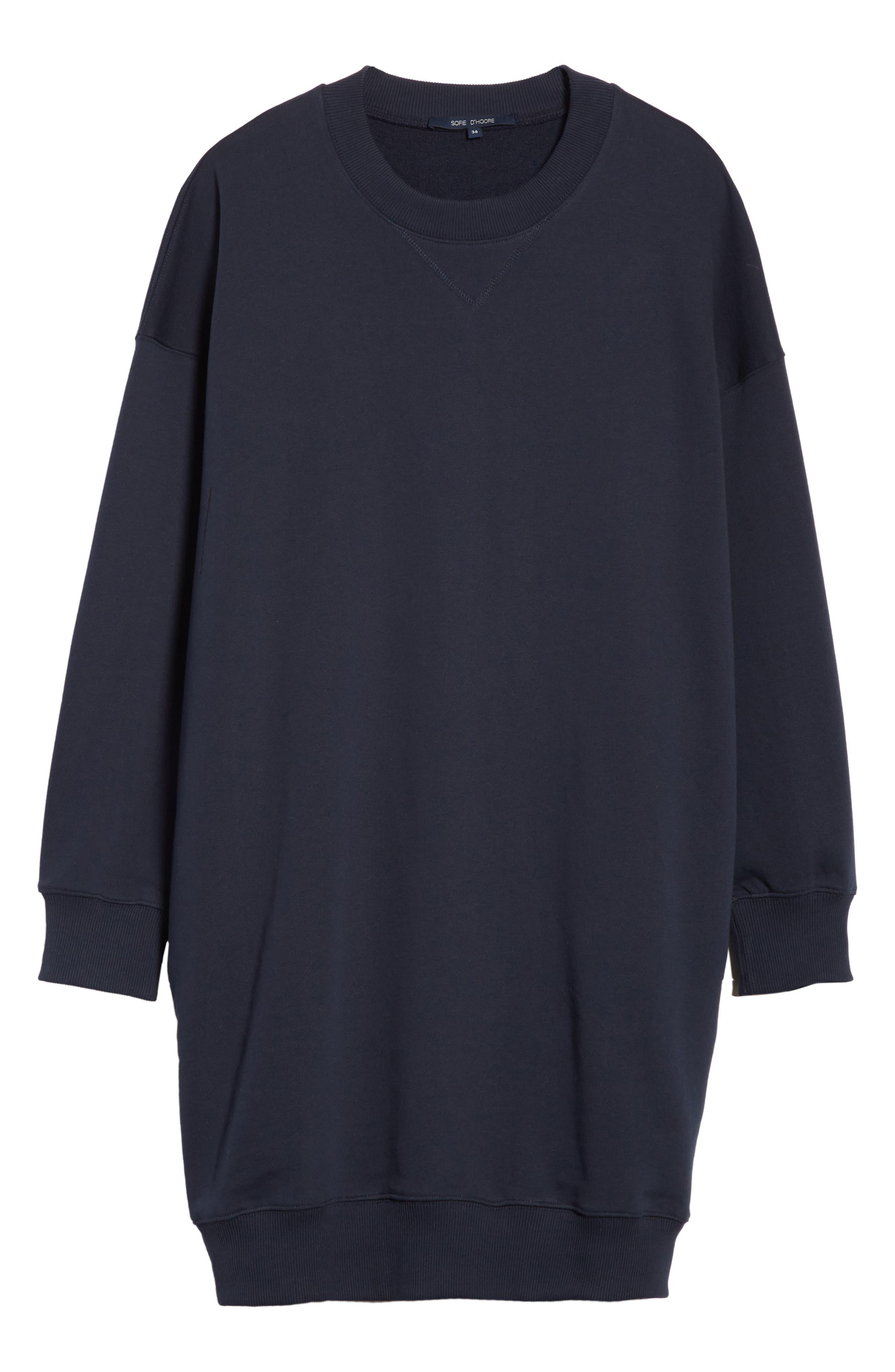 Sweatshirt Dress,                             Alternate thumbnail 7, color,                             Navy