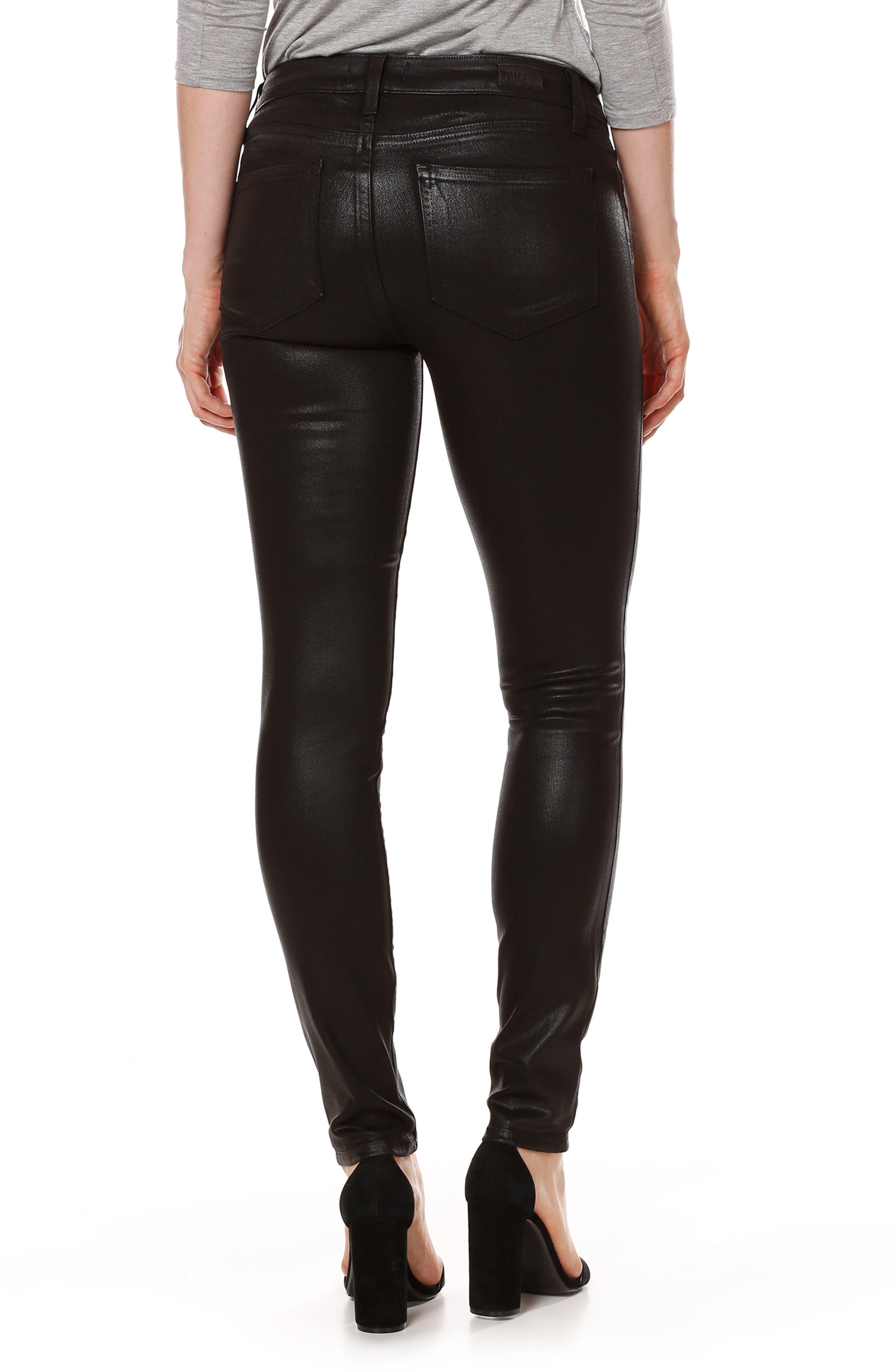 Alternate Image 2  - PAIGE Transcend - Verdugo Coated Skinny Jeans (Luxe Black)