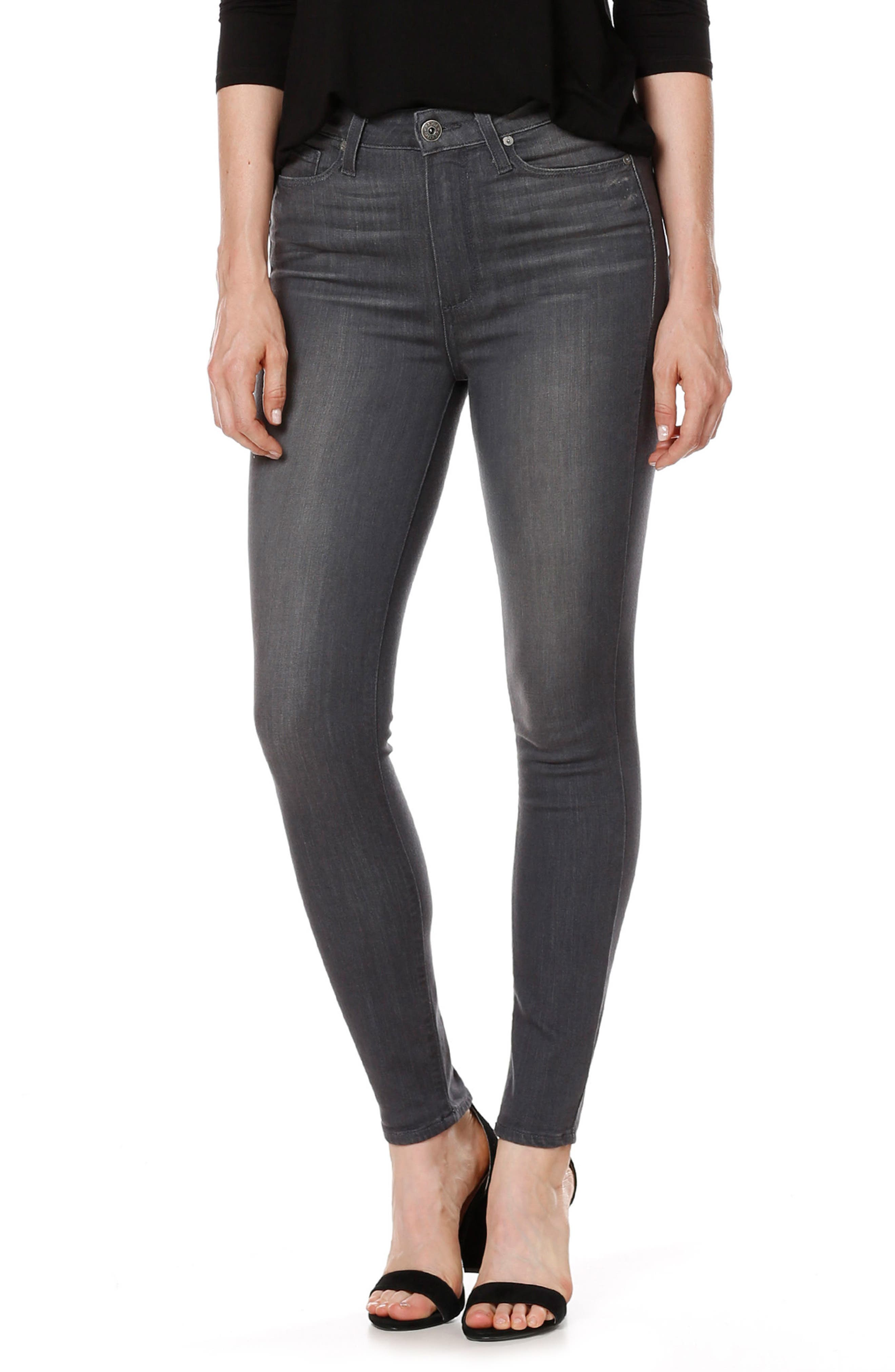 Transcend - Margot High Waist Ankle Ultra Skinny Jeans,                             Alternate thumbnail 3, color,                             Summit Grey