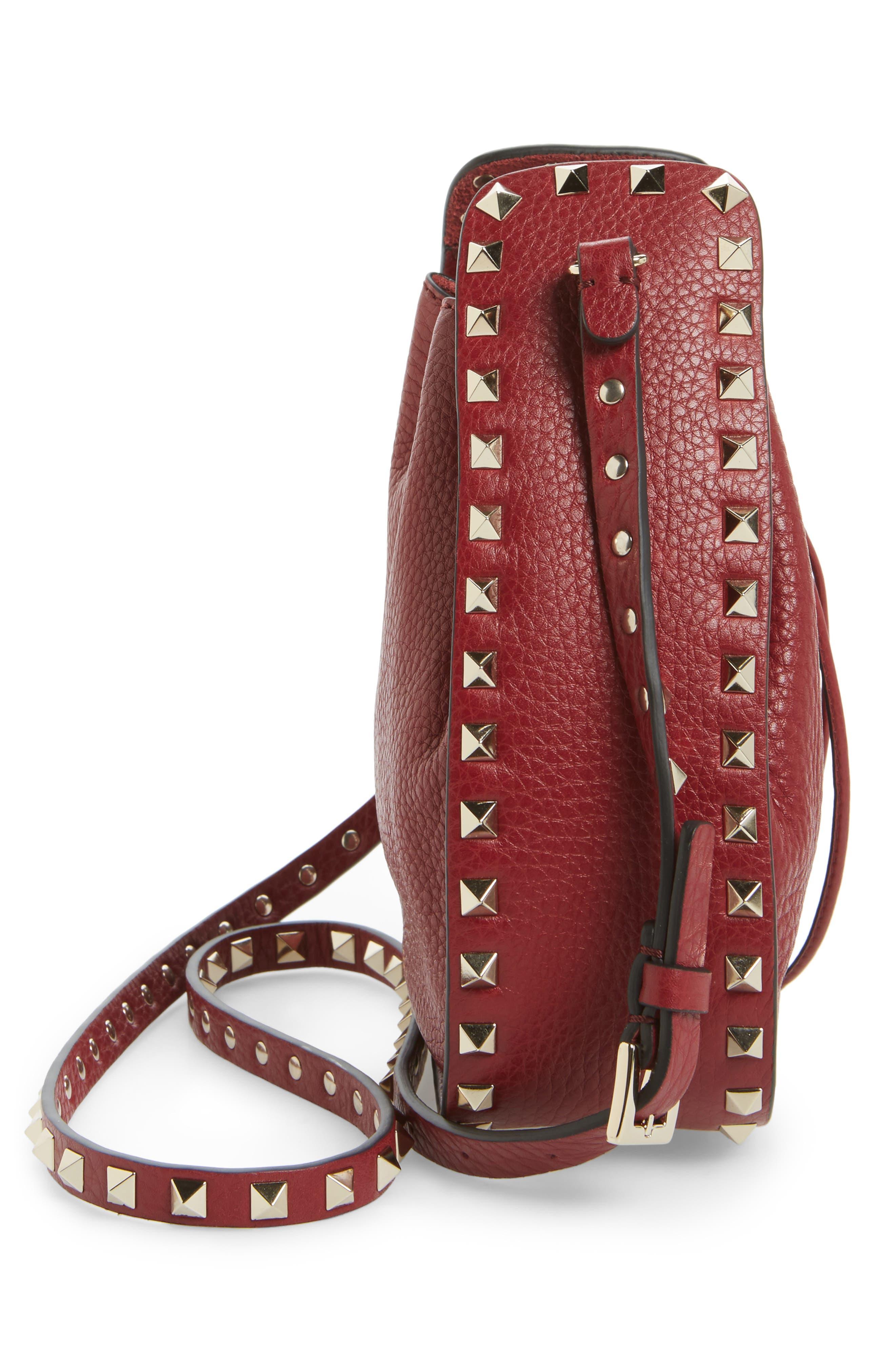 Rockstud Leather Bucket Bag,                             Alternate thumbnail 3, color,                             Rubin