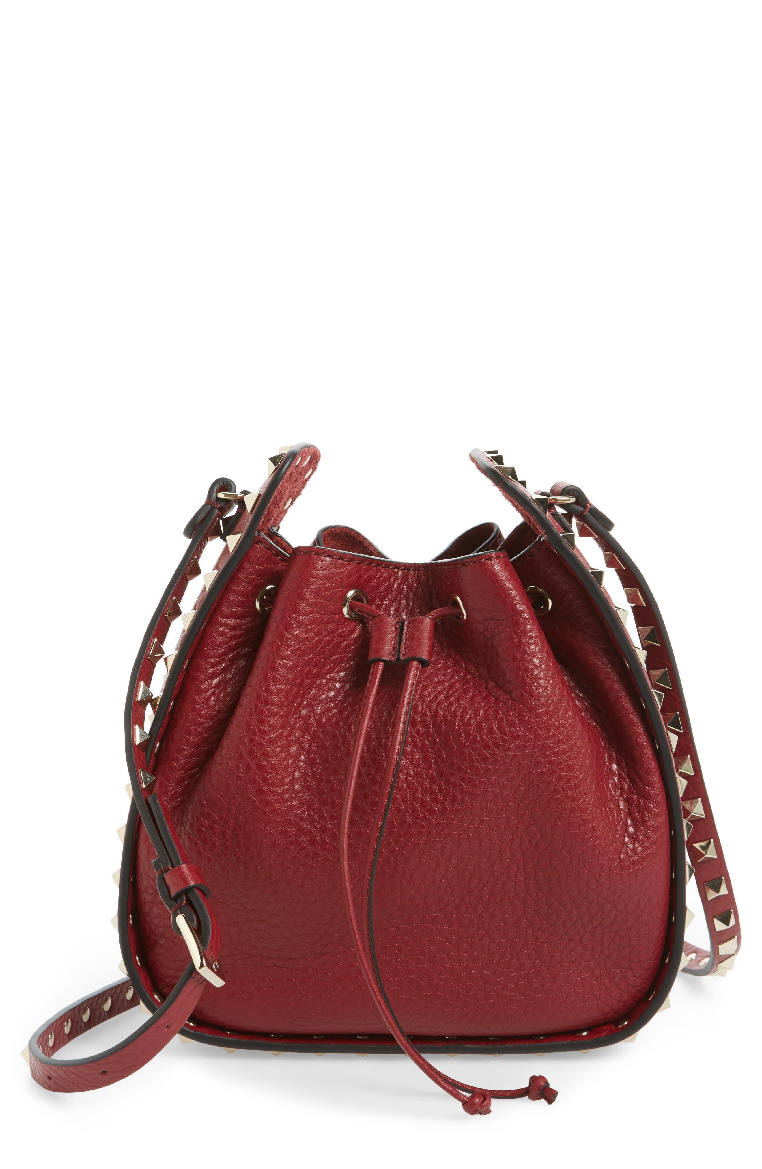 Rockstud Leather Bucket Bag,                             Main thumbnail 1, color,                             Rubin