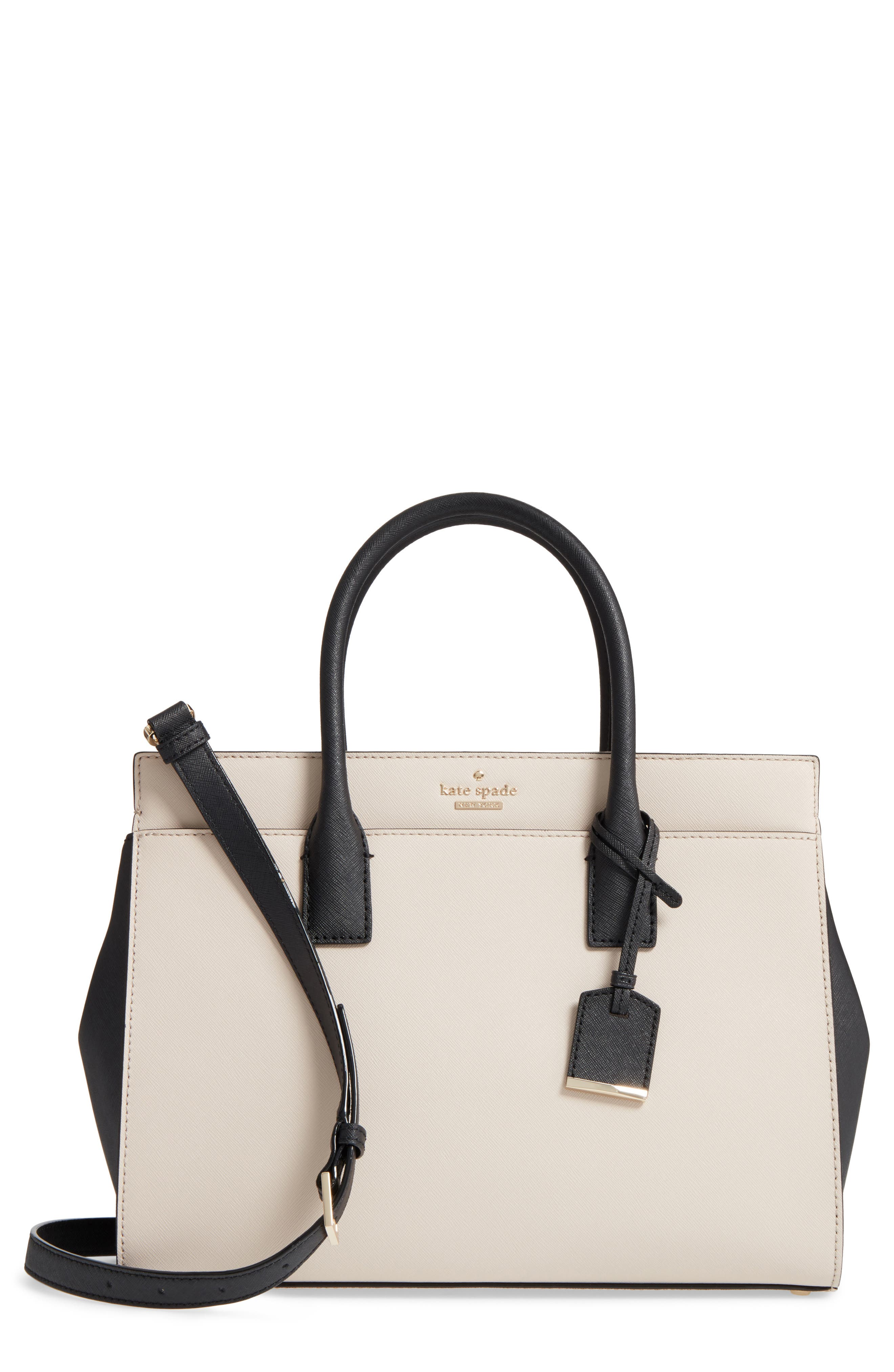 cameron street - candace leather satchel,                         Main,                         color, Tusk/ Black
