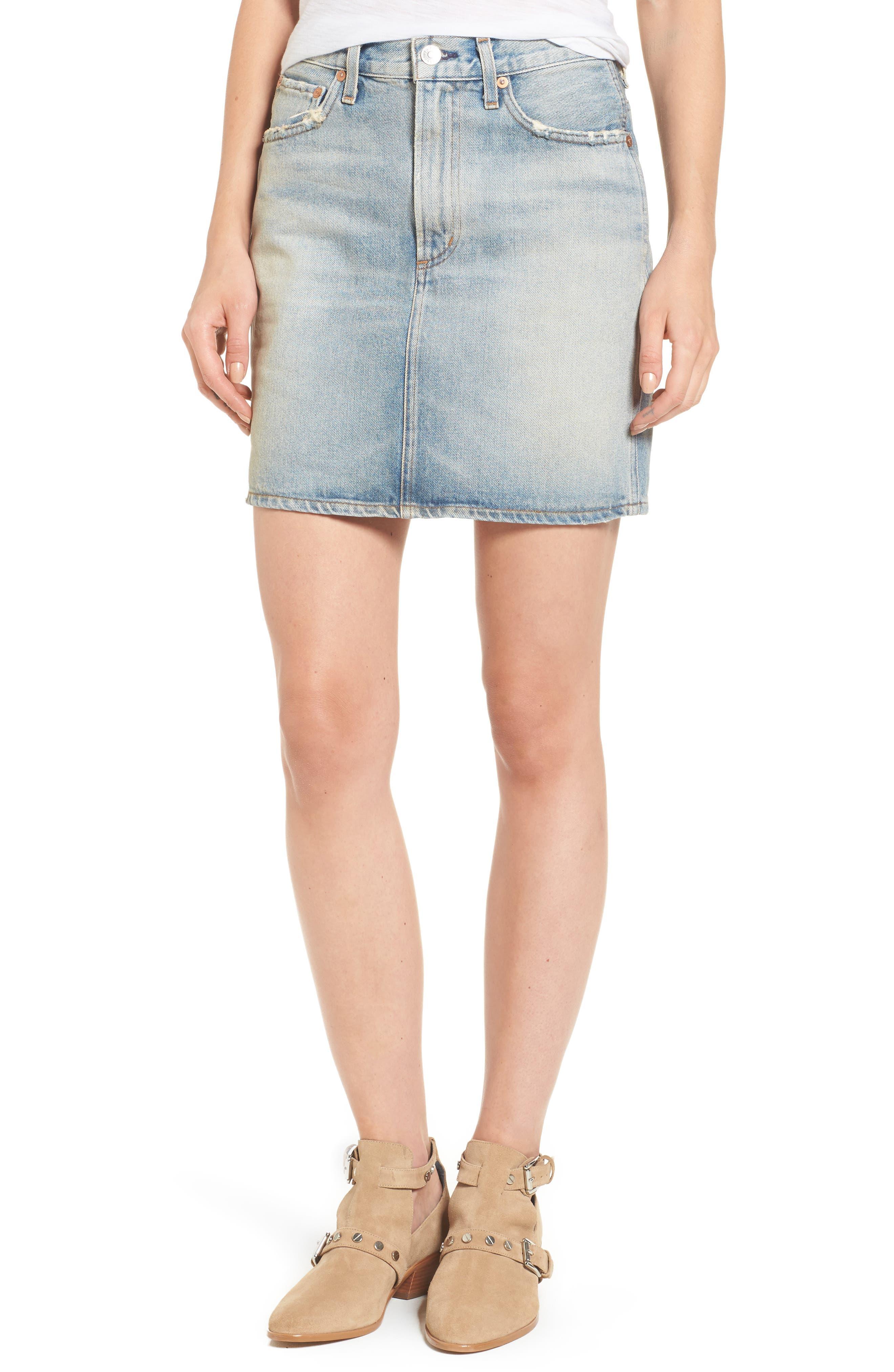 AGOLDE Kat High Waist Denim Miniskirt