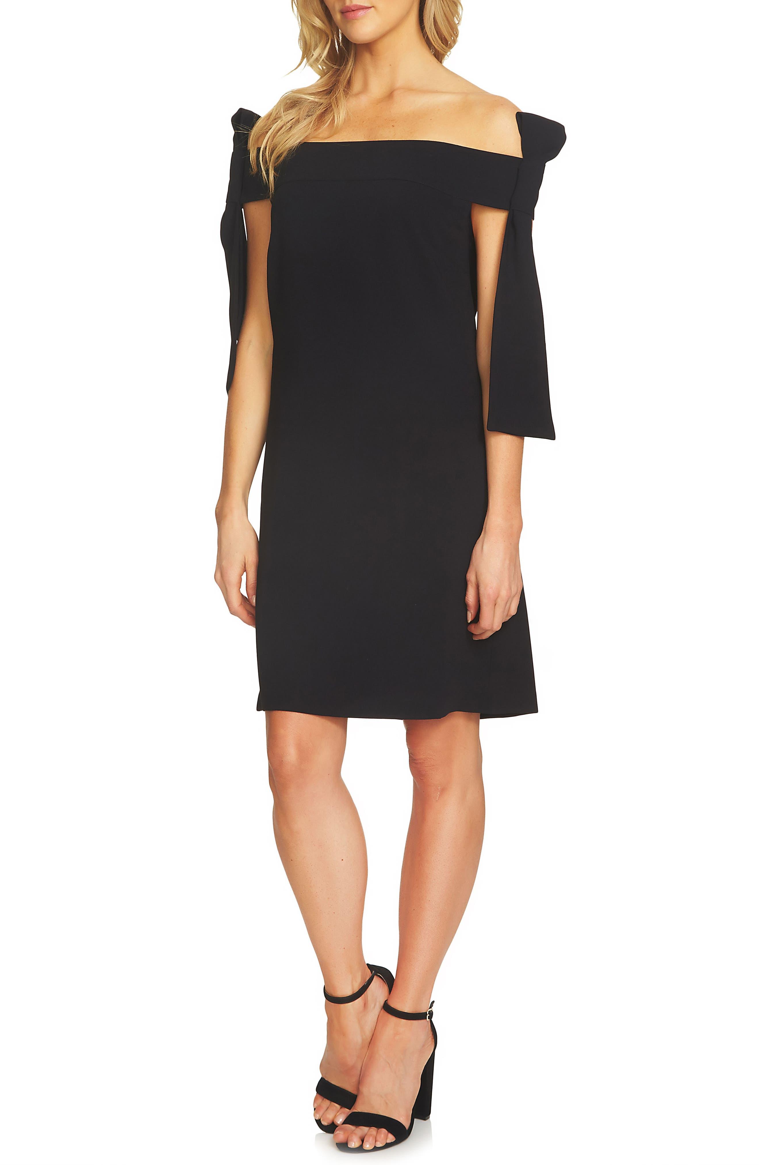 CeCe Bow Tie Off the Shoulder A-Line Dress
