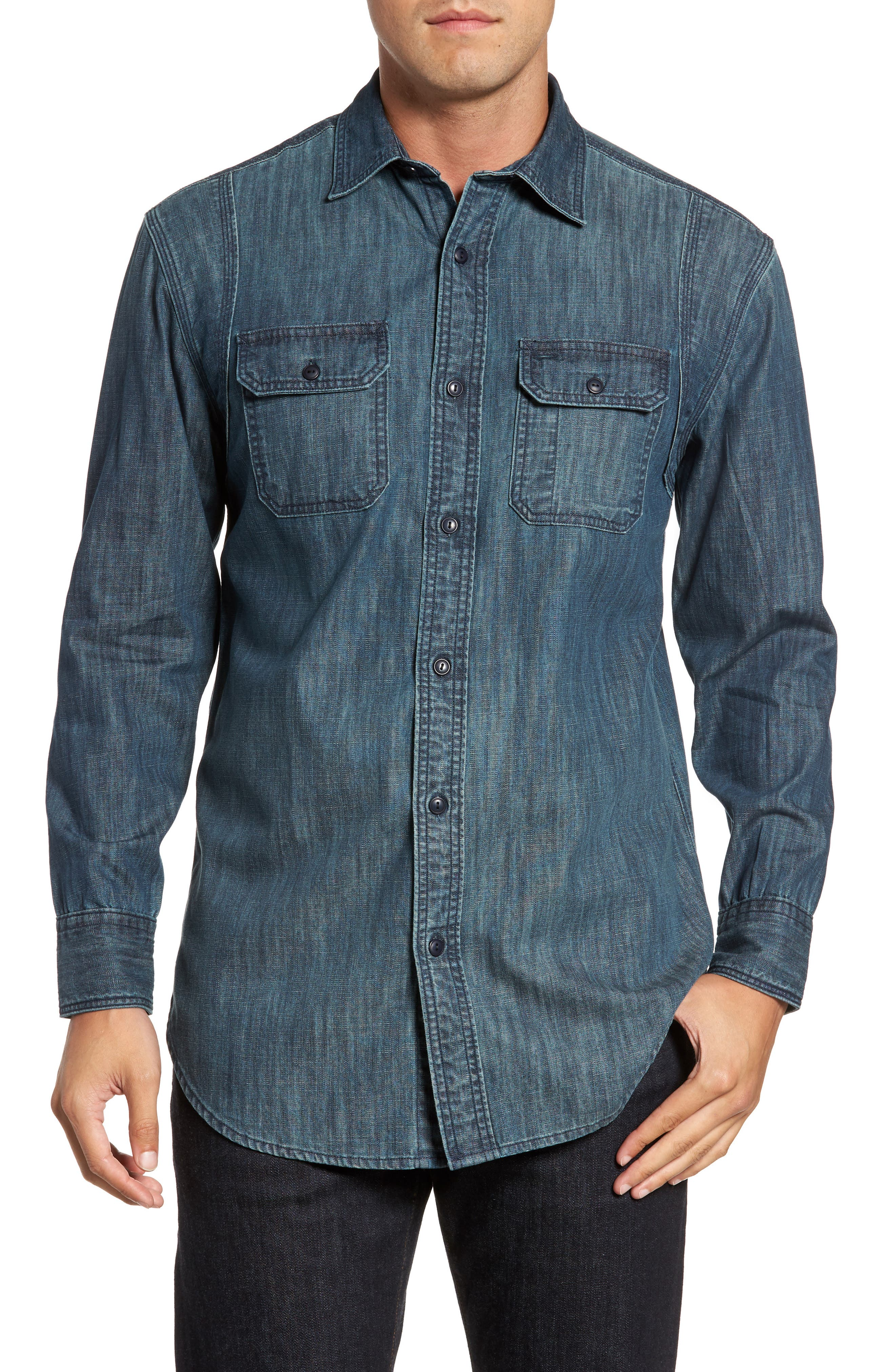 Alternate Image 1 Selected - FLYNT Regular Fit Denim Shirt