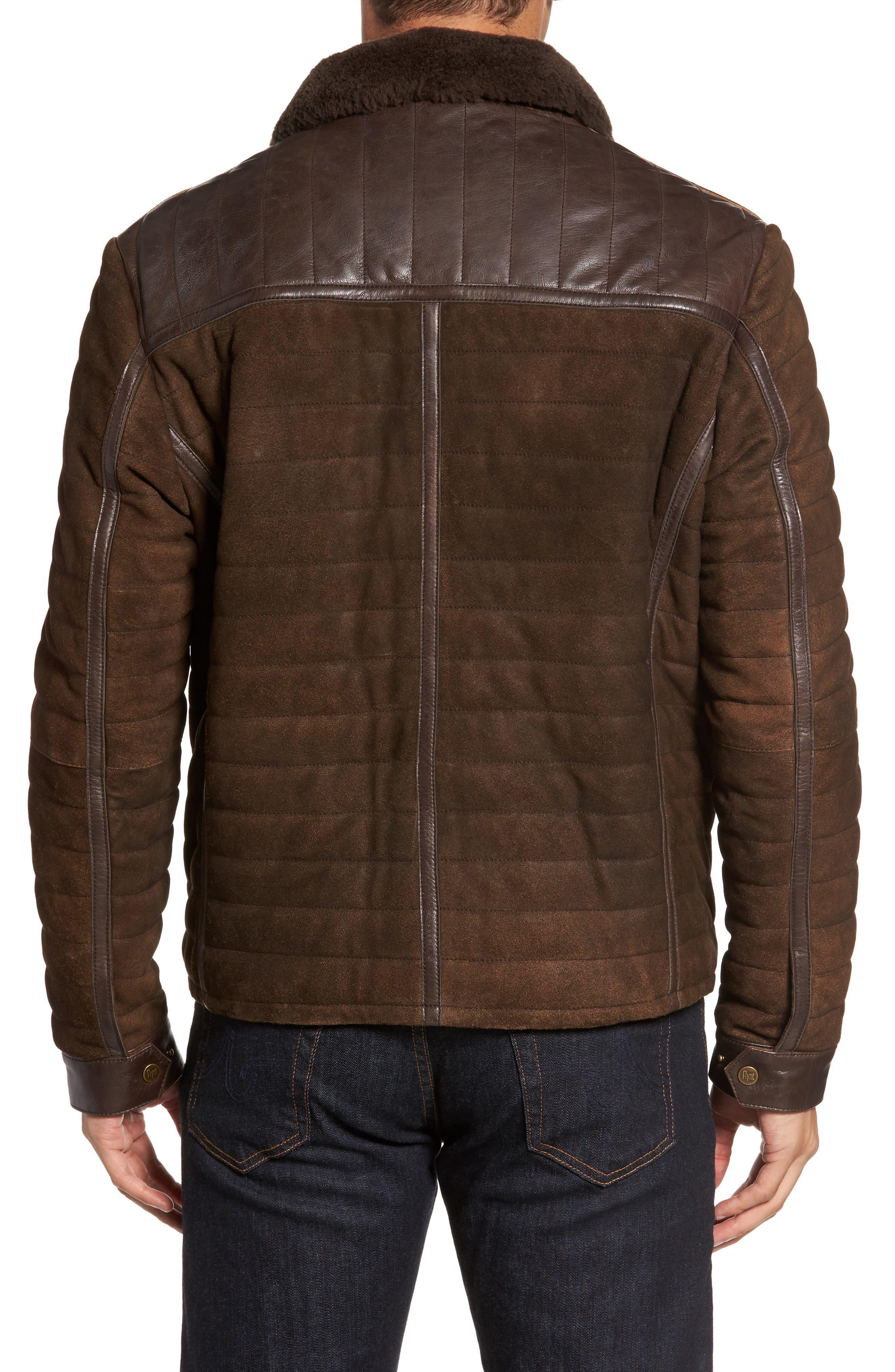 Alternate Image 2  - FLYNT Genuine Shearling Trim Leather Bomber Jacket