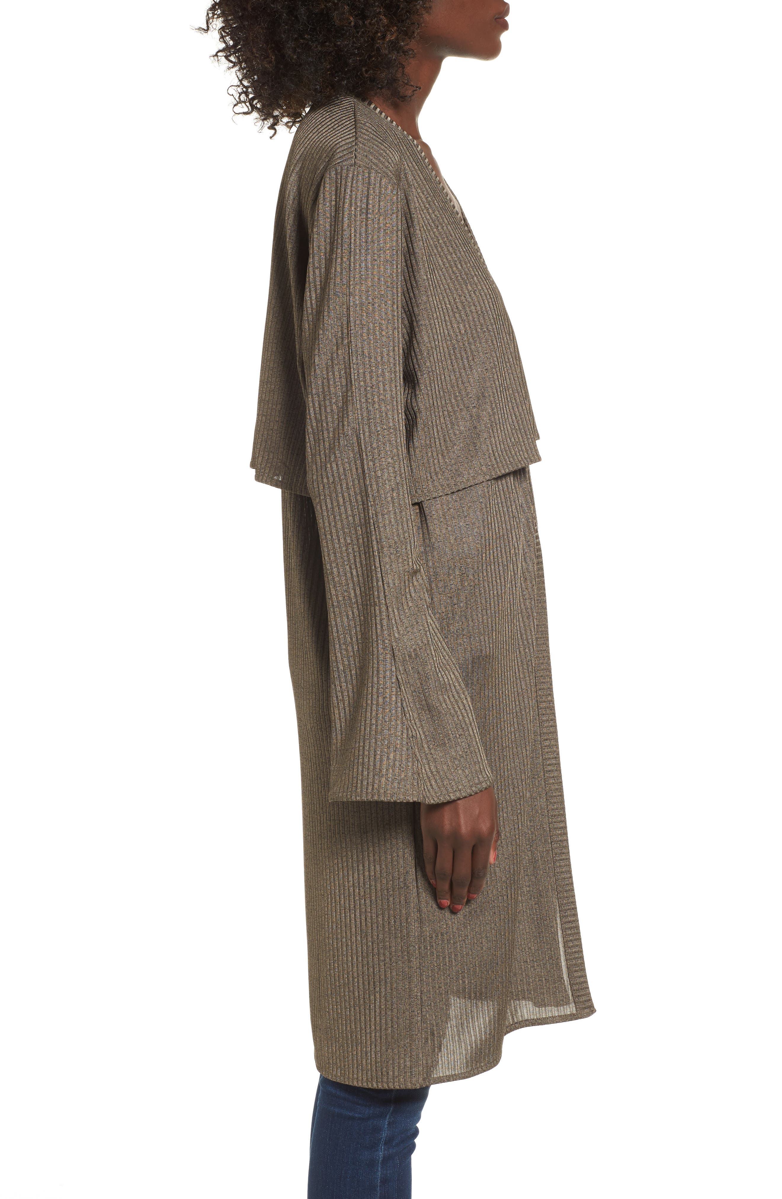 Casey Open Front Cardigan,                             Alternate thumbnail 3, color,                             Deep Army Melange