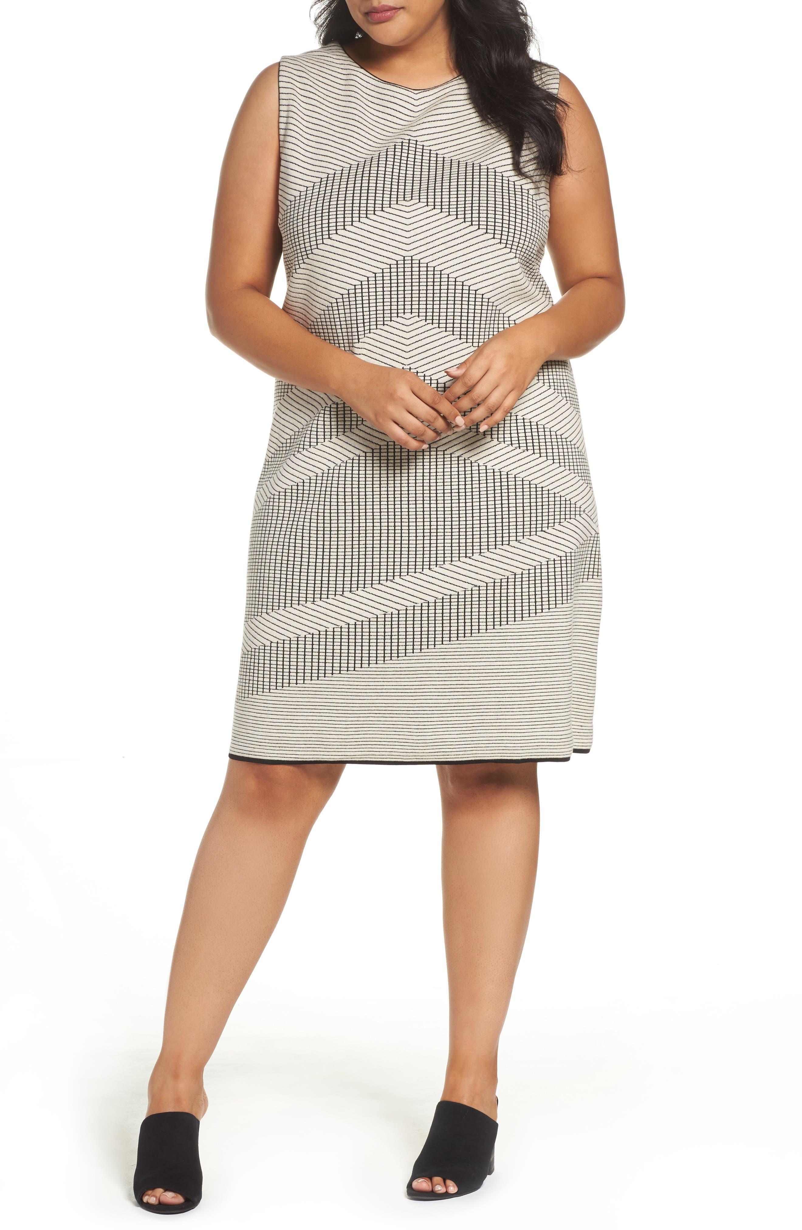 NIC+ZOE Mantra Chevron Stripe Knit Sheath Dress (Plus Size)