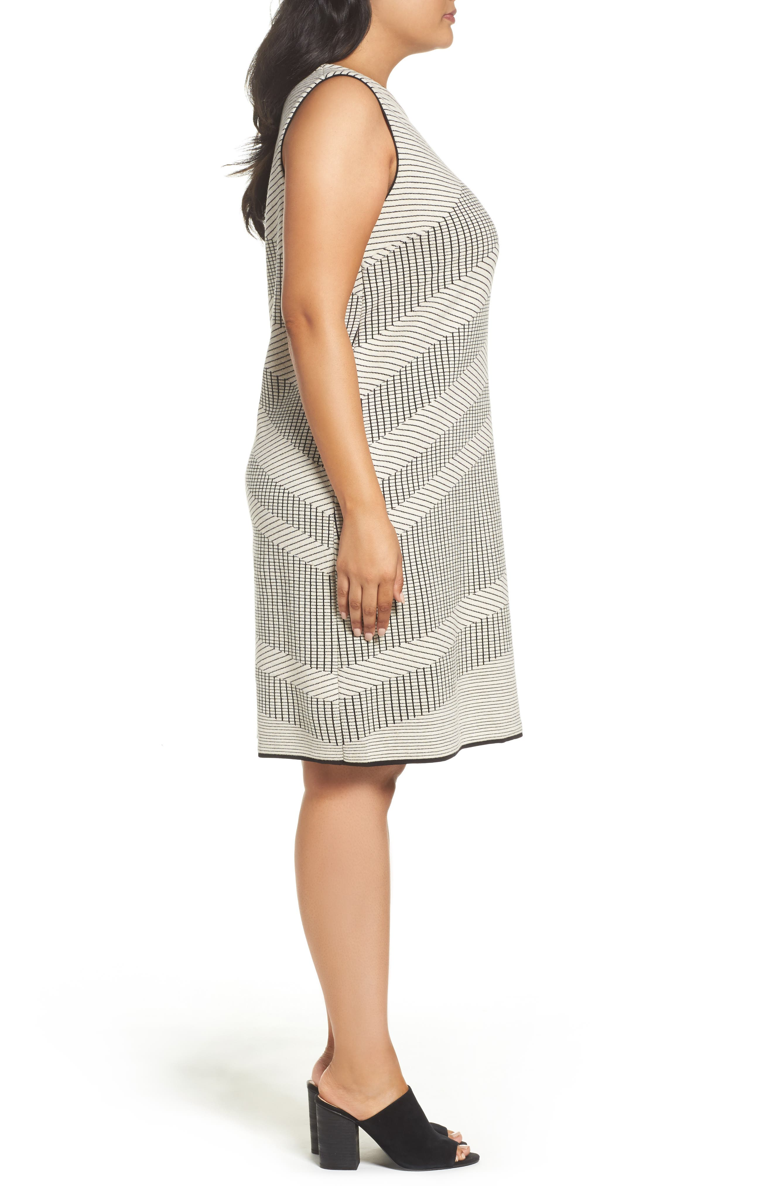 Mantra Chevron Stripe Knit Sheath Dress,                             Alternate thumbnail 3, color,                             Creme Brulee