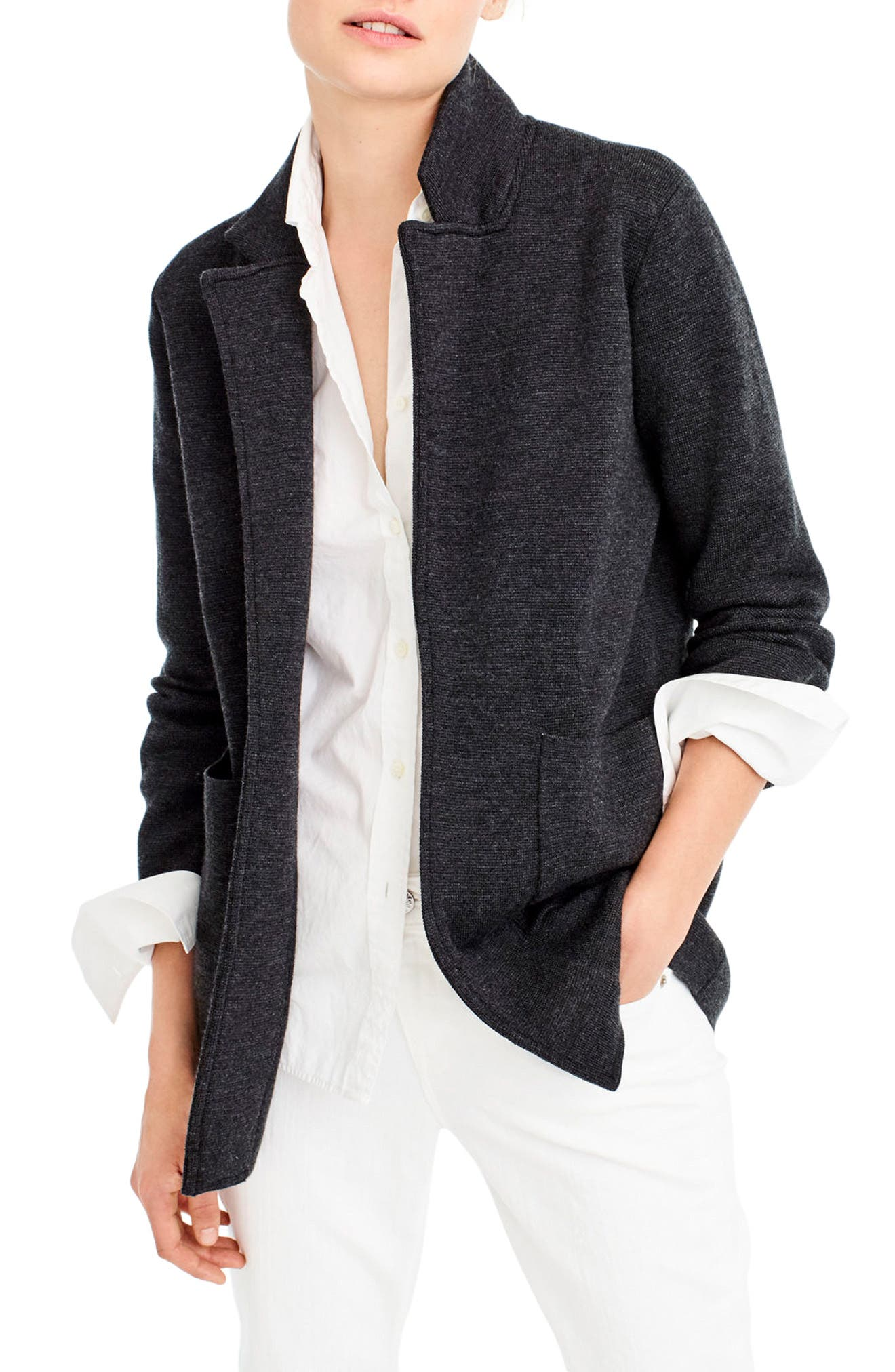 Open Front Sweater Blazer,                             Main thumbnail 1, color,                             Heather Coal