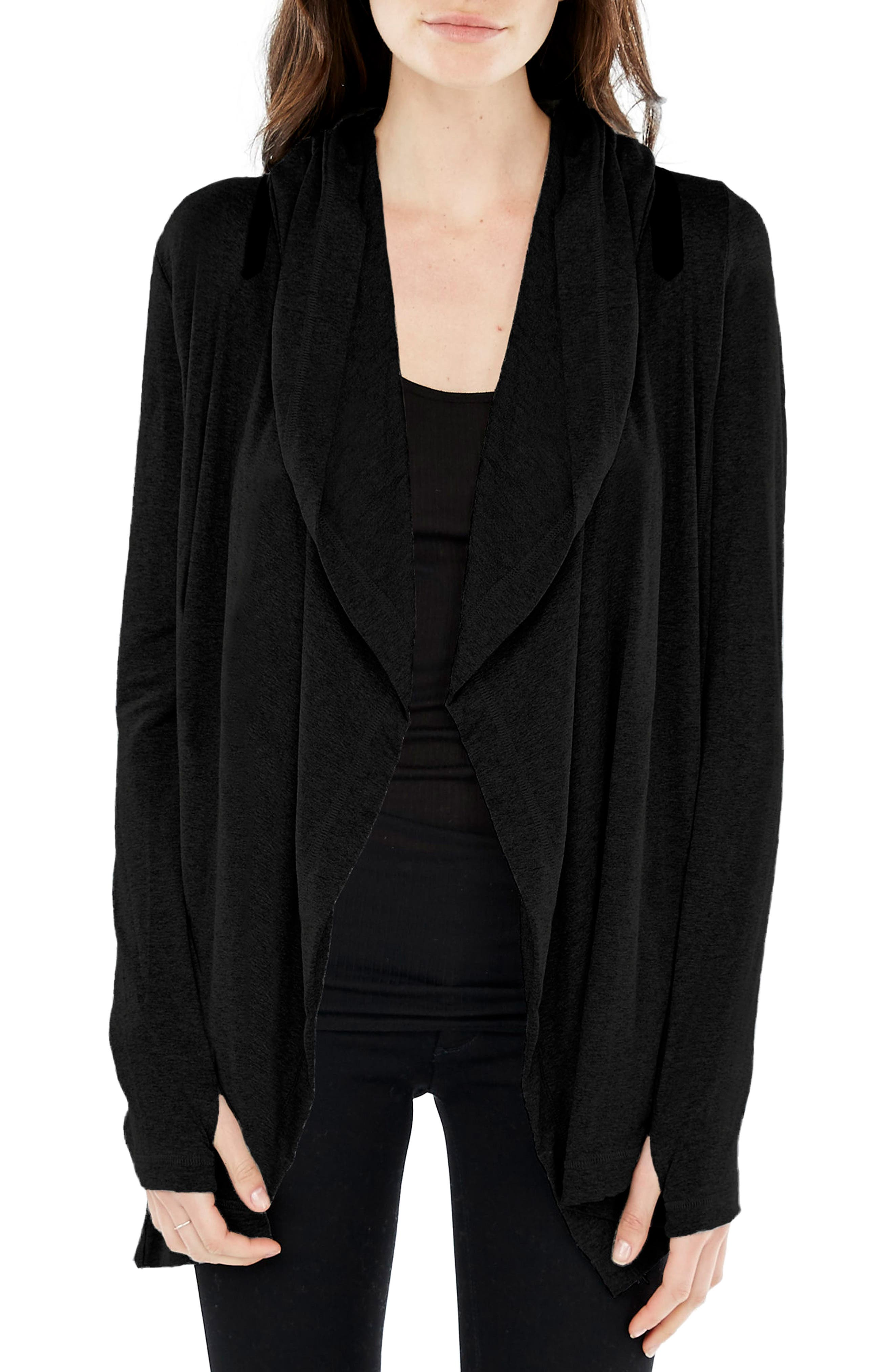 Hooded Cardigan,                         Main,                         color, Black