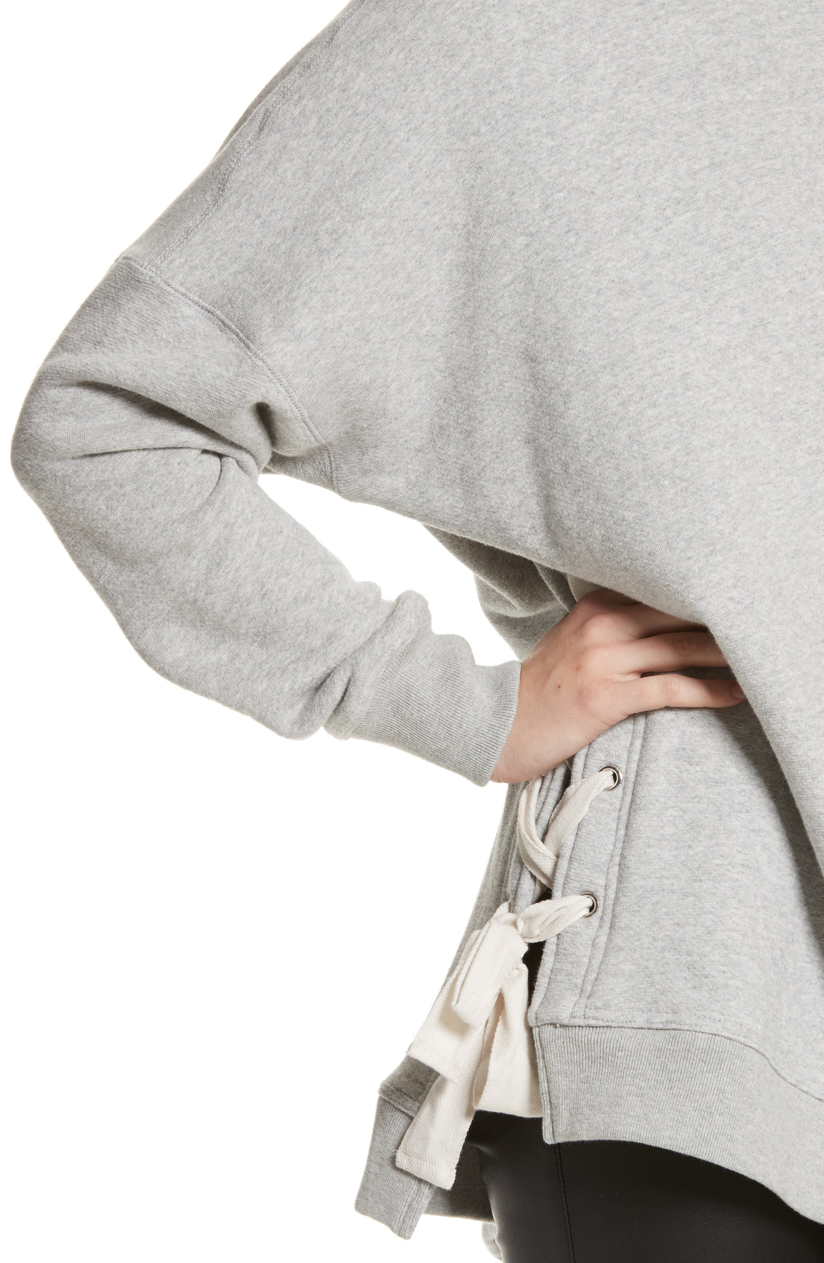 So Plush Lace-Up Pullover,                             Alternate thumbnail 4, color,                             Grey
