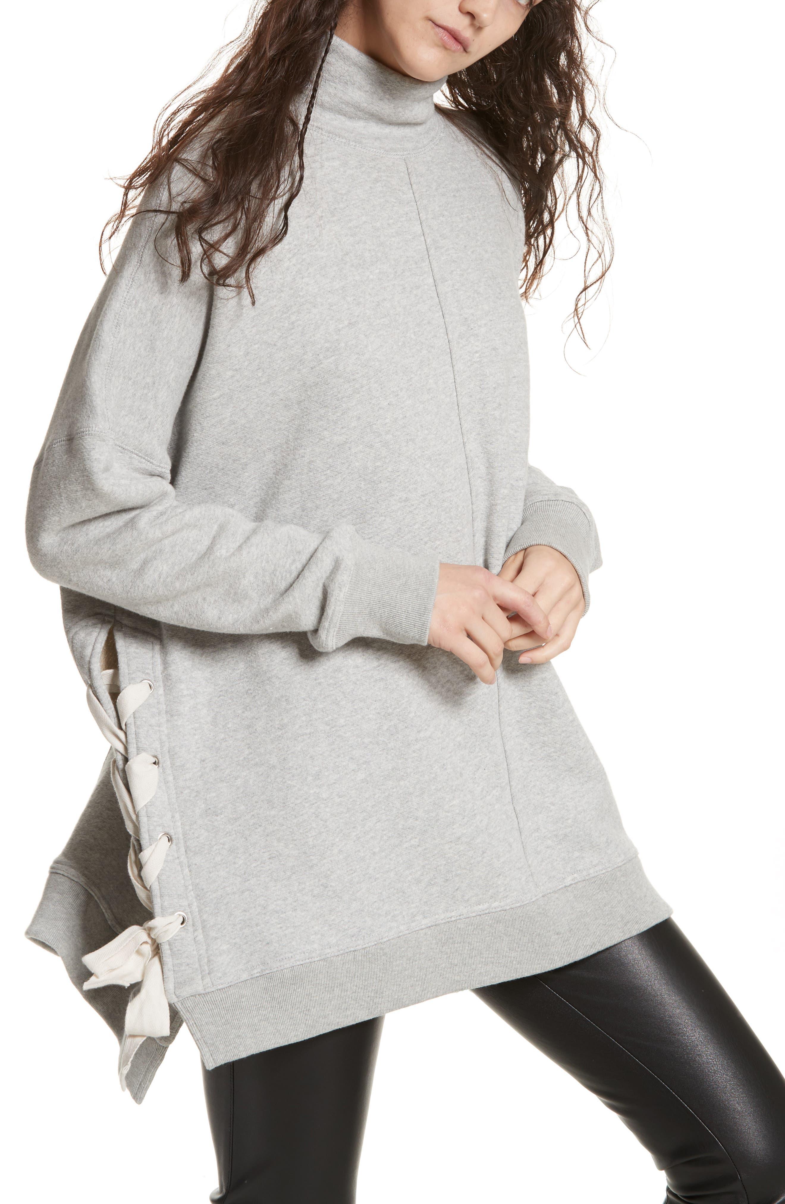 So Plush Lace-Up Pullover,                             Main thumbnail 1, color,                             Grey