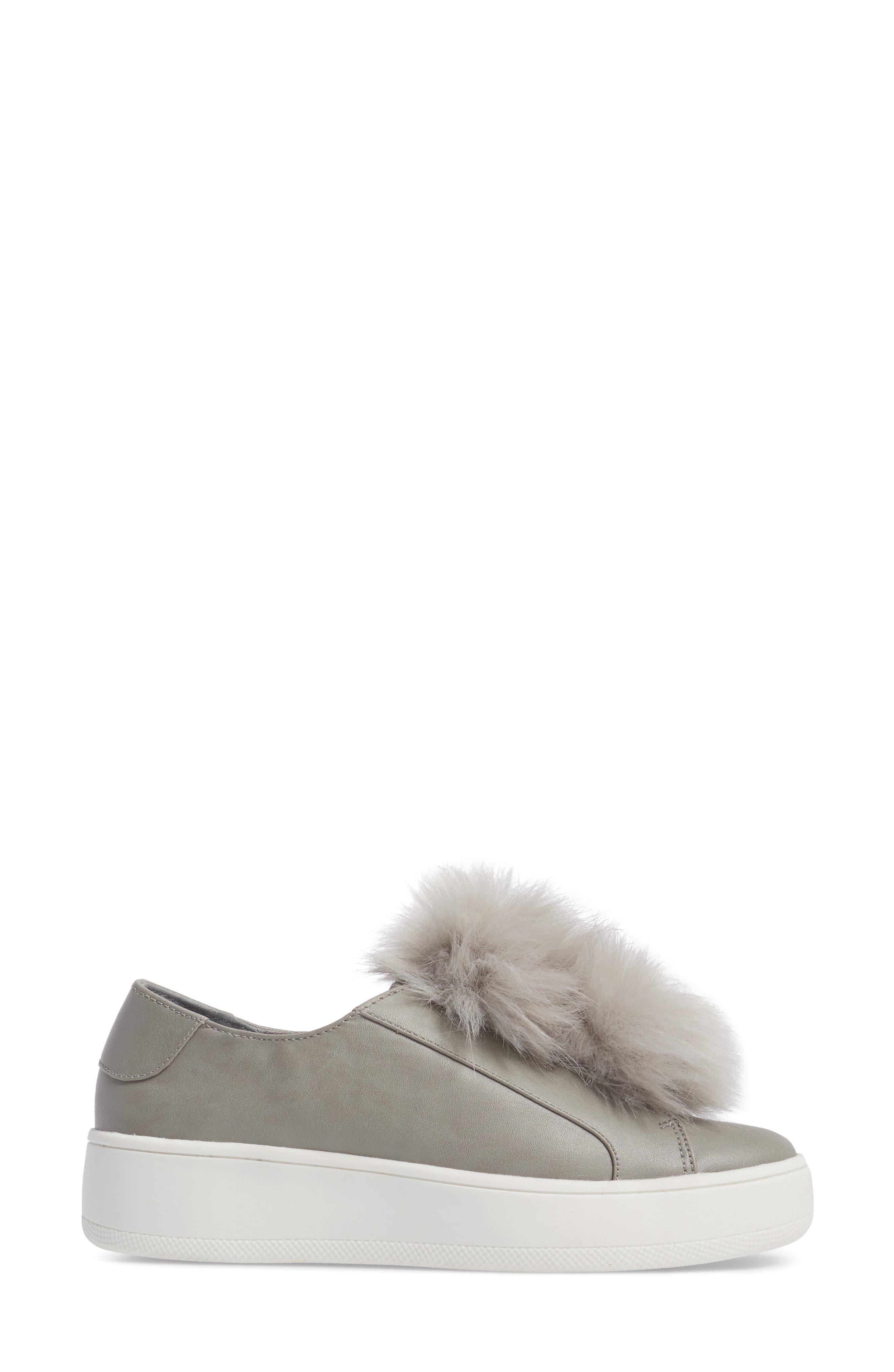 Breeze Faux Fur Pom Sneaker,                             Alternate thumbnail 3, color,                             Grey