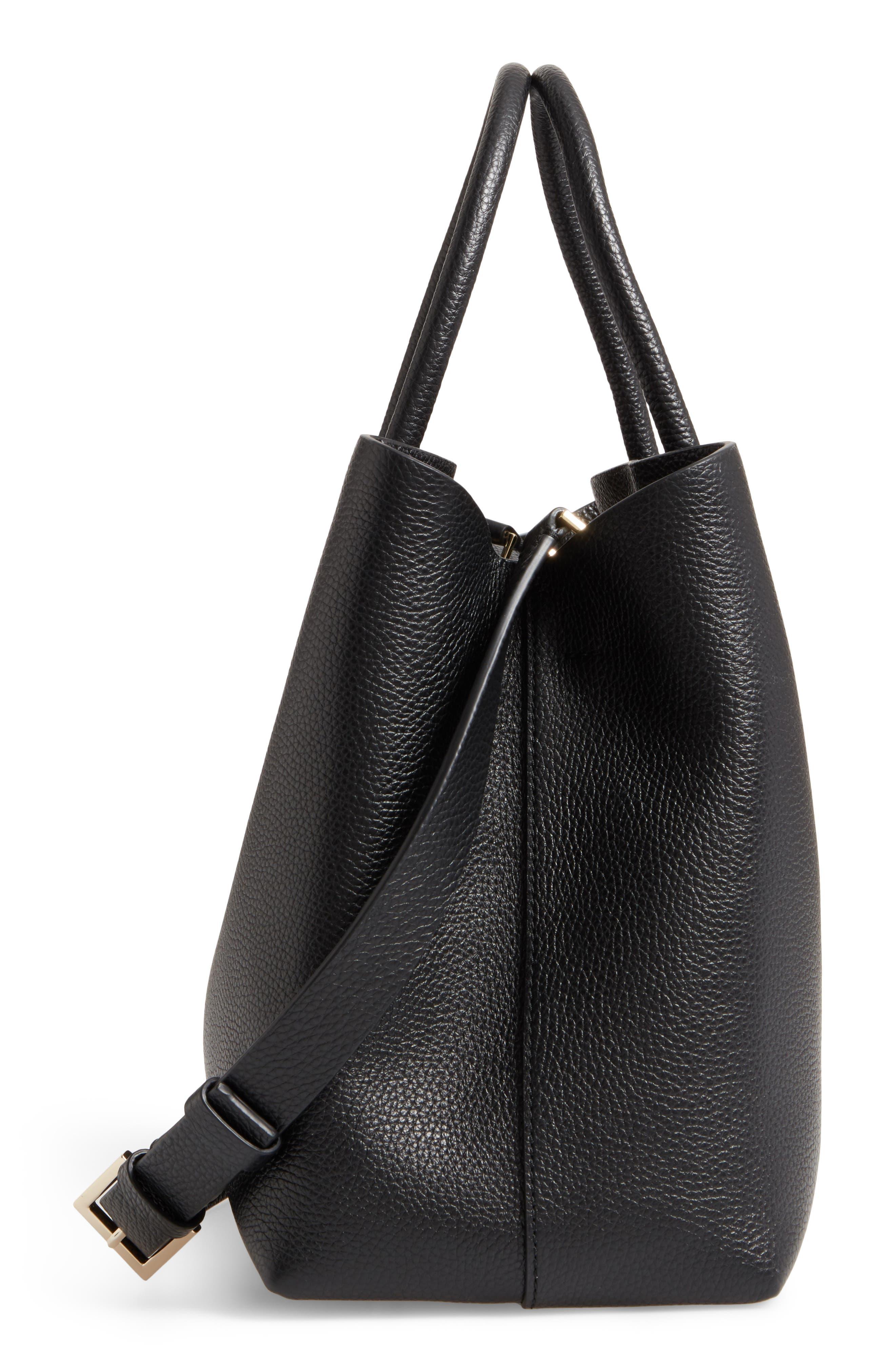 large madison knollwood drive - celestina leather satchel,                             Alternate thumbnail 4, color,                             Black