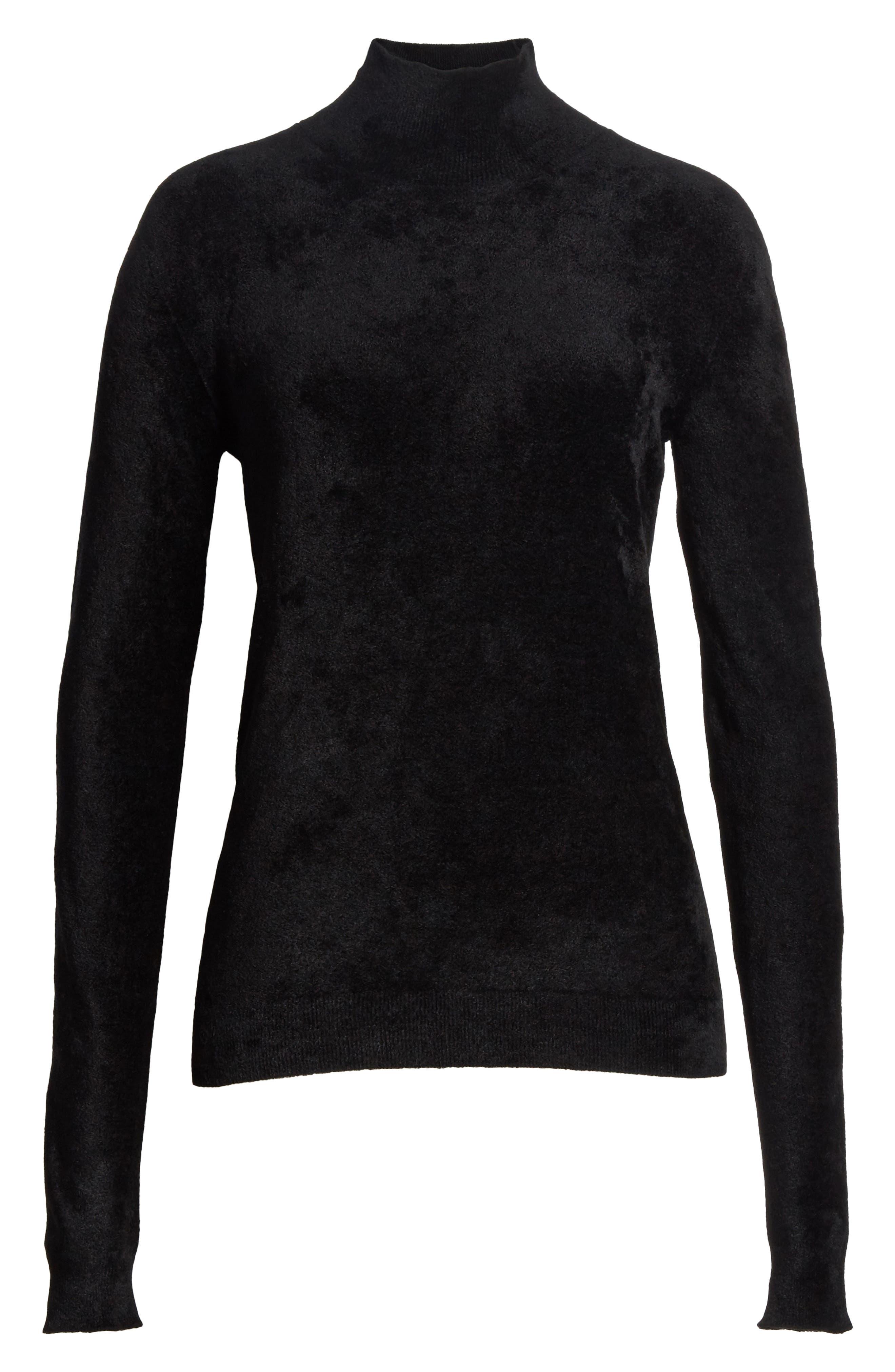 Chenille Turtleneck Sweater,                             Alternate thumbnail 6, color,                             00N99 Black