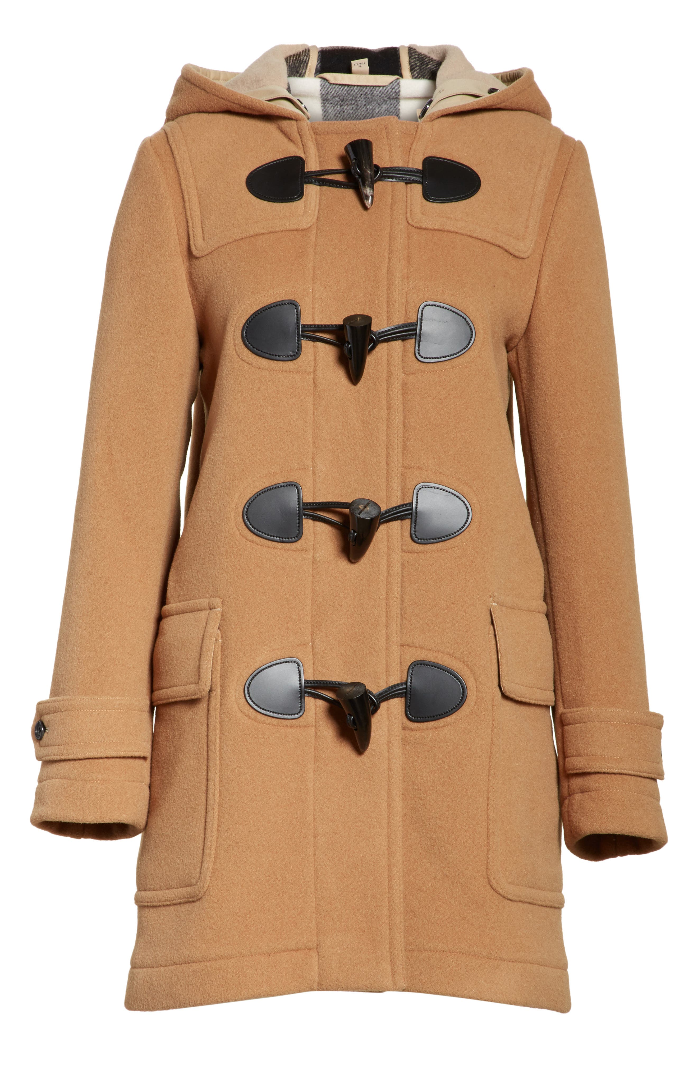 Mersey Wool Blend Duffle Coat,                             Alternate thumbnail 6, color,                             Mid Camel