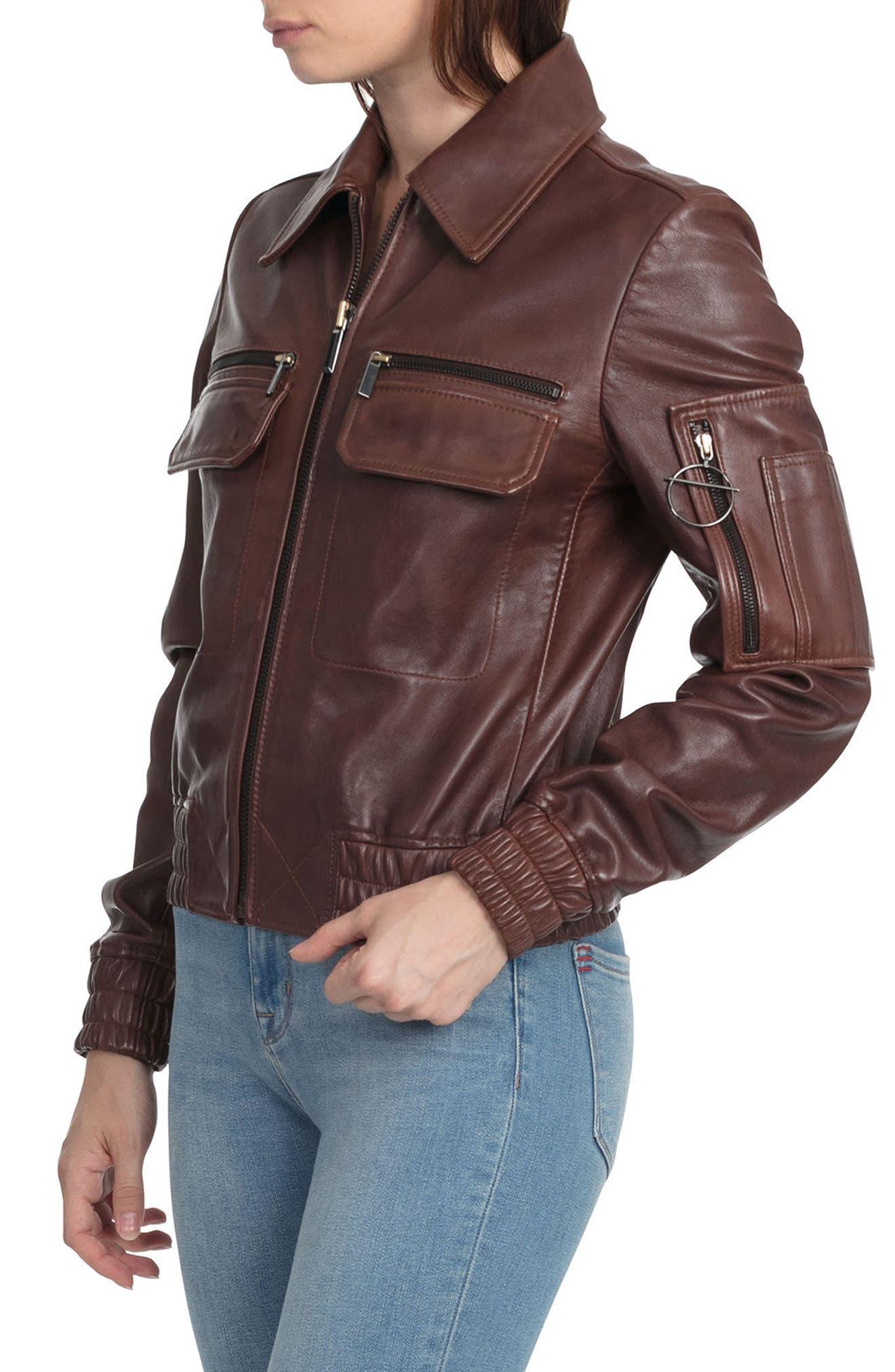 BAGATELLE.CITY The Aviator Leather Jacket,                             Alternate thumbnail 3, color,                             Mahogany