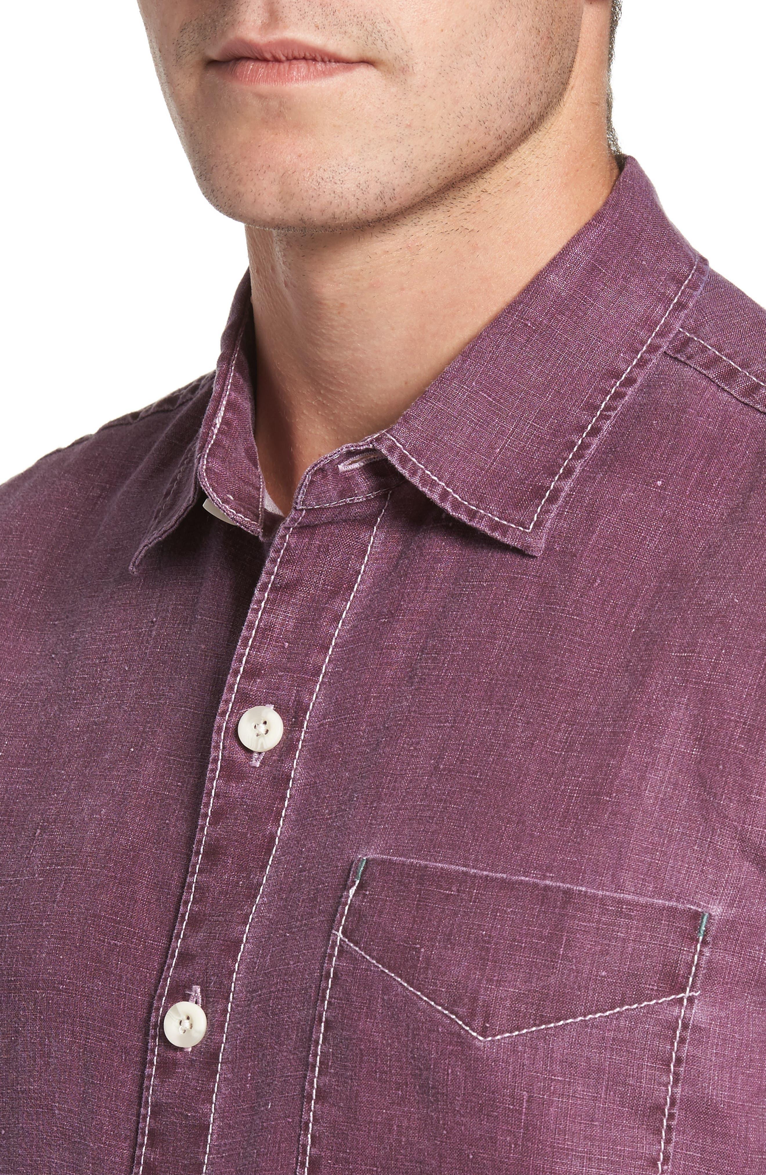 Sea Glass Breezer Linen Sport Shirt,                             Alternate thumbnail 4, color,                             Grape Wine