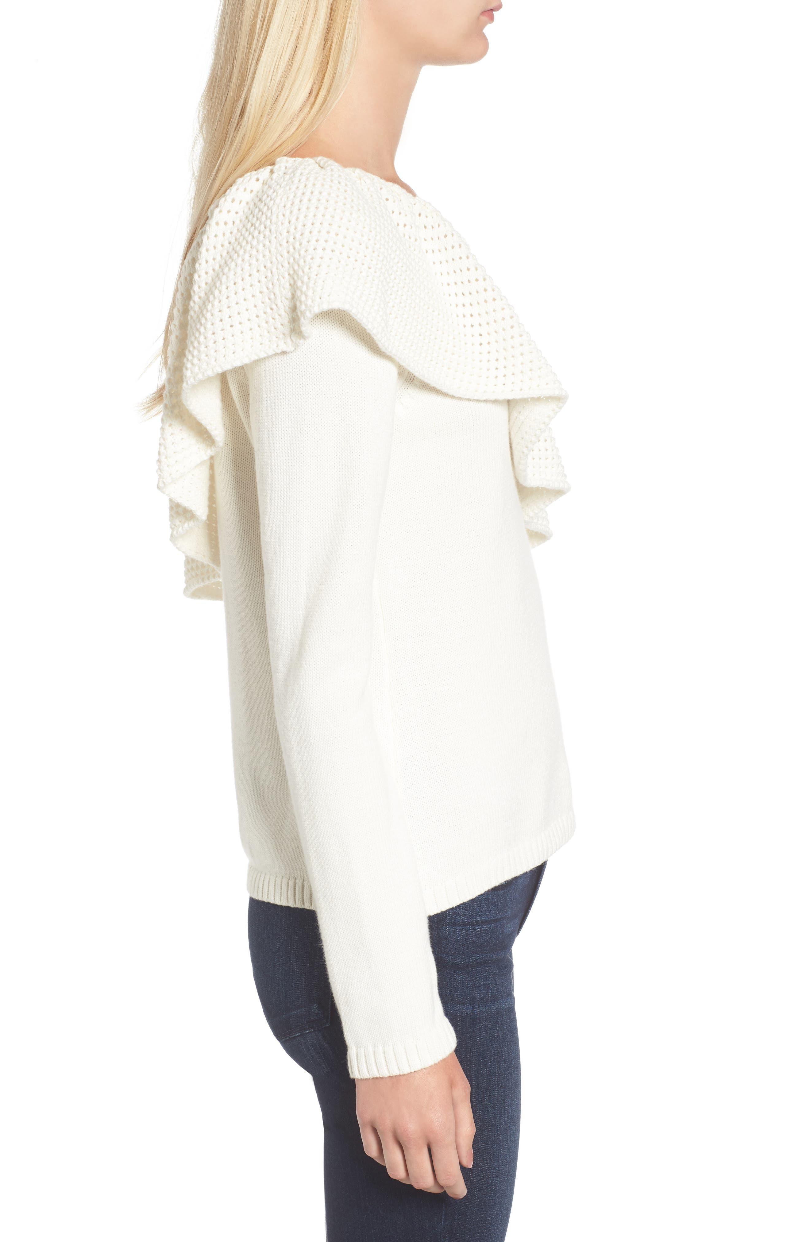 Alternate Image 3  - Ella Moss Ruffle One Shoulder Sweater