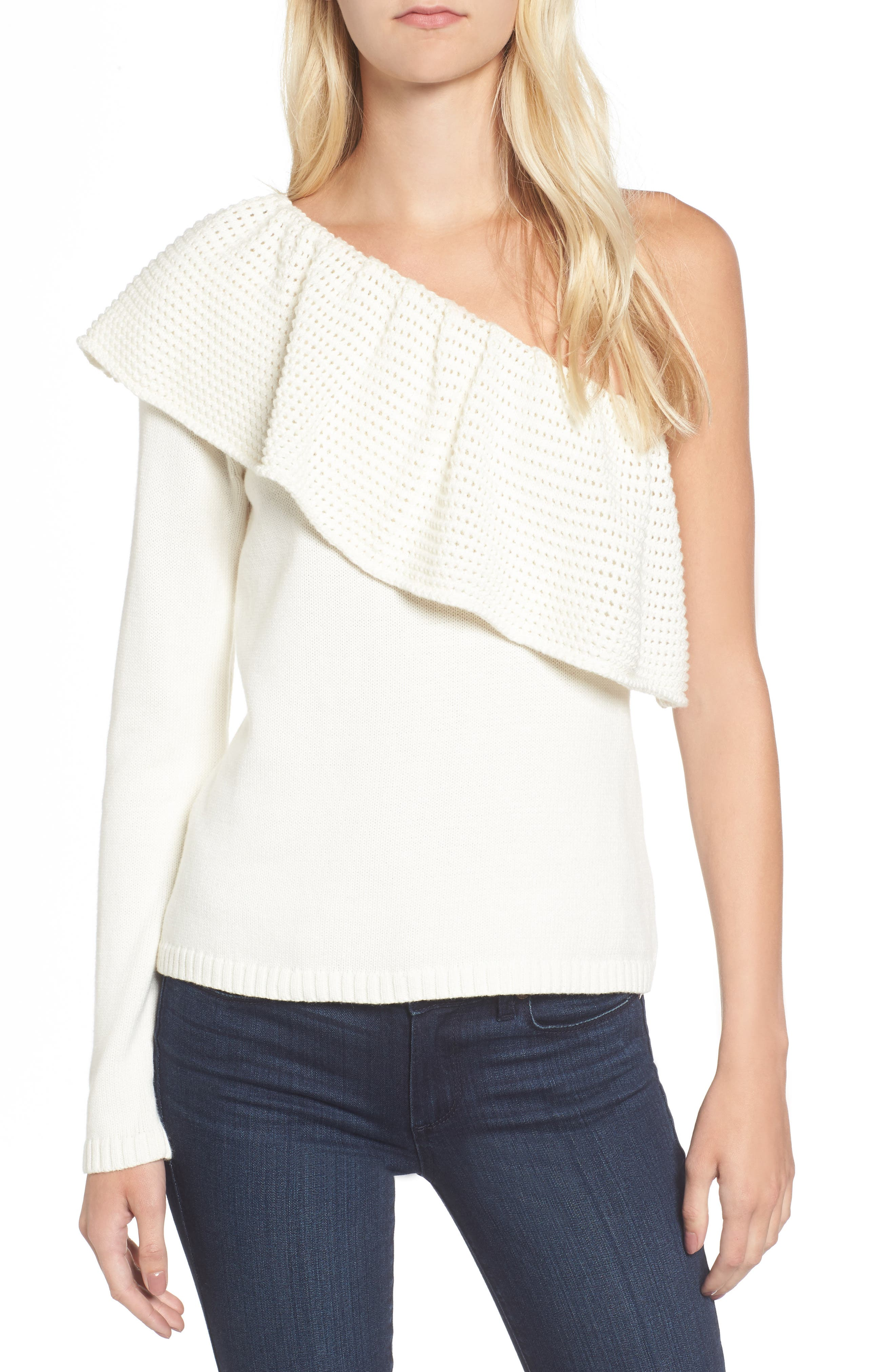 Ruffle One Shoulder Sweater,                         Main,                         color, Natural
