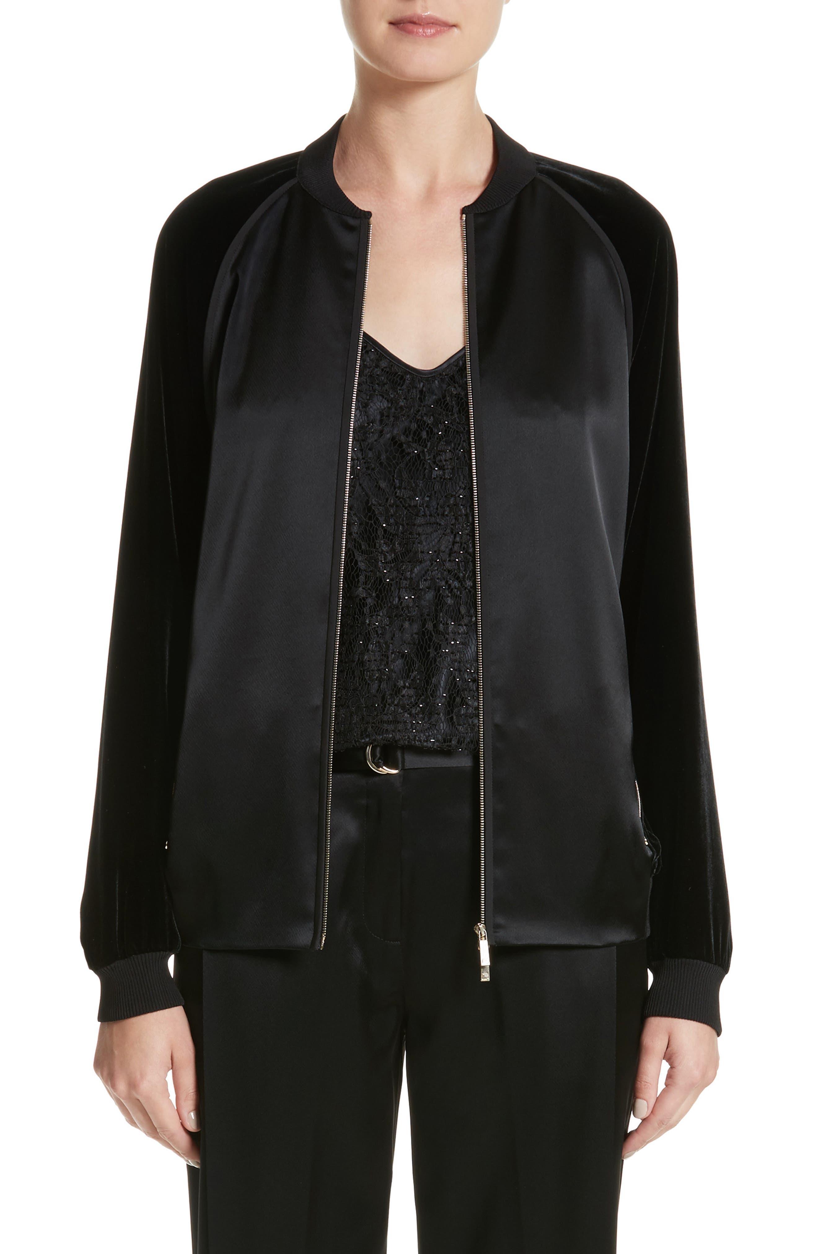 Brea Reverie Satin Cloth Bomber Jacket,                         Main,                         color, Black