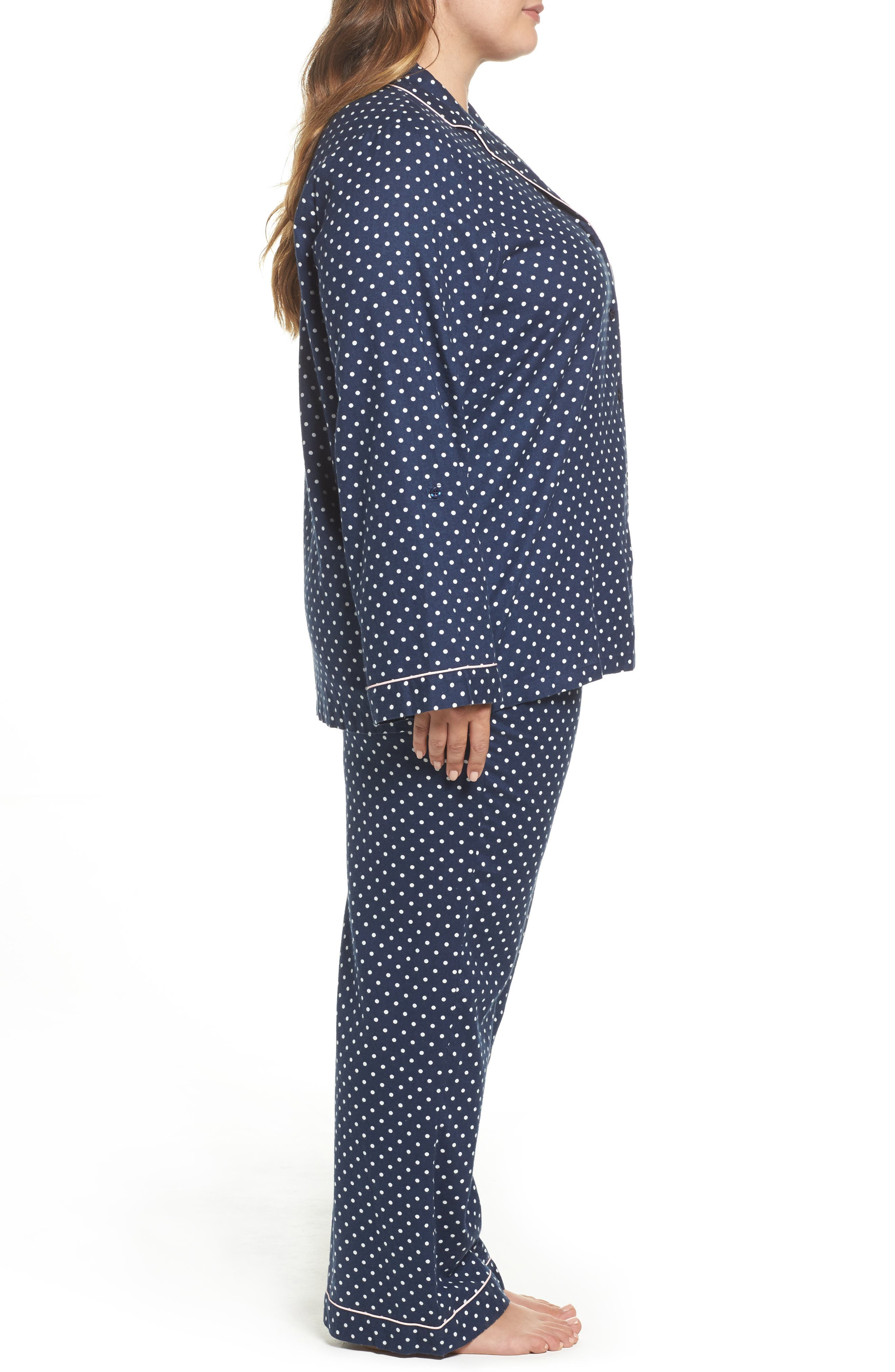 Alternate Image 3  - Nordstrom Lingerie Cotton Twill Pajamas (Plus Size)