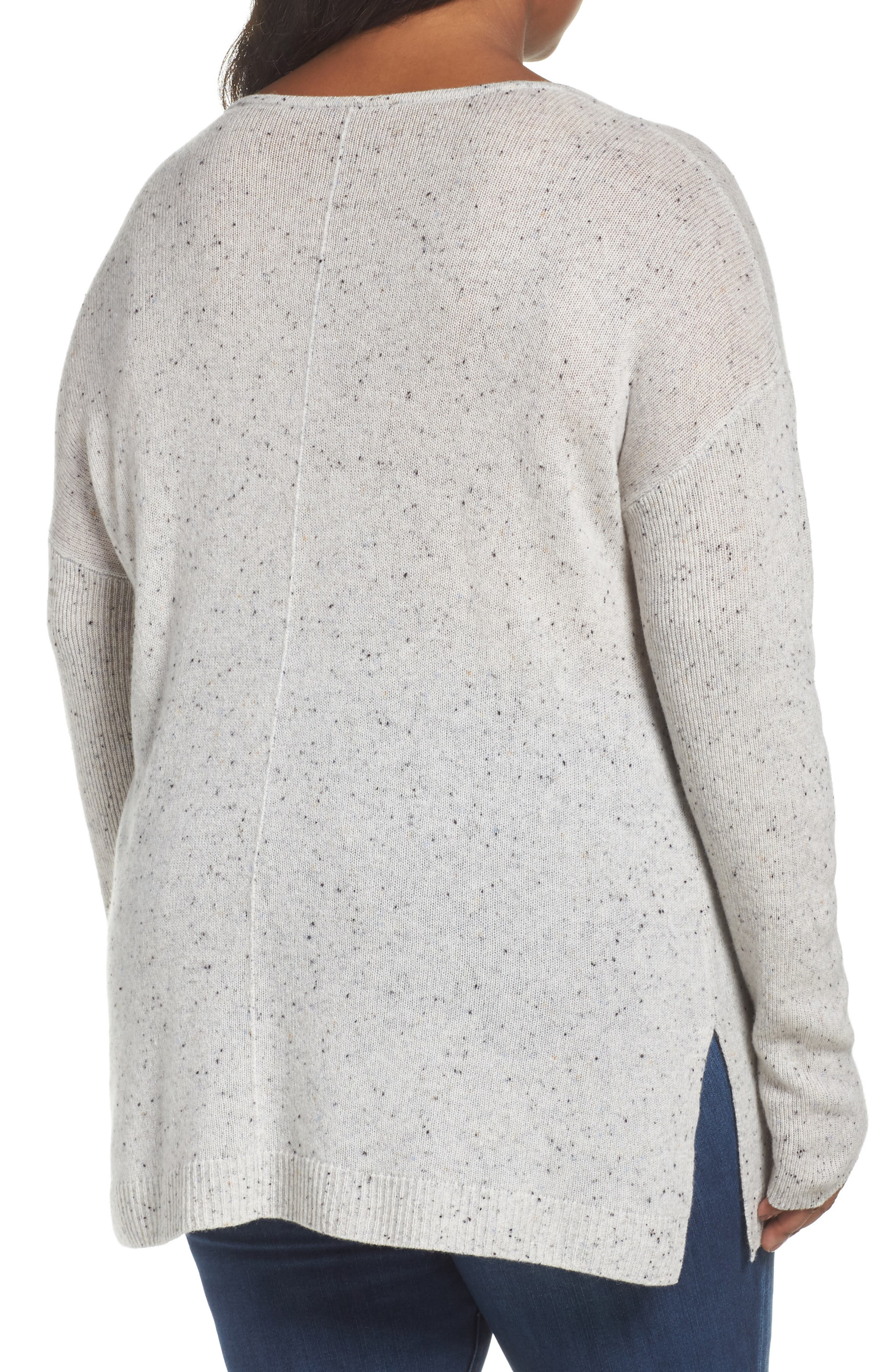 Easy V-Neck Wool & Cashmere Pullover,                             Alternate thumbnail 2, color,                             Grey Light Heather