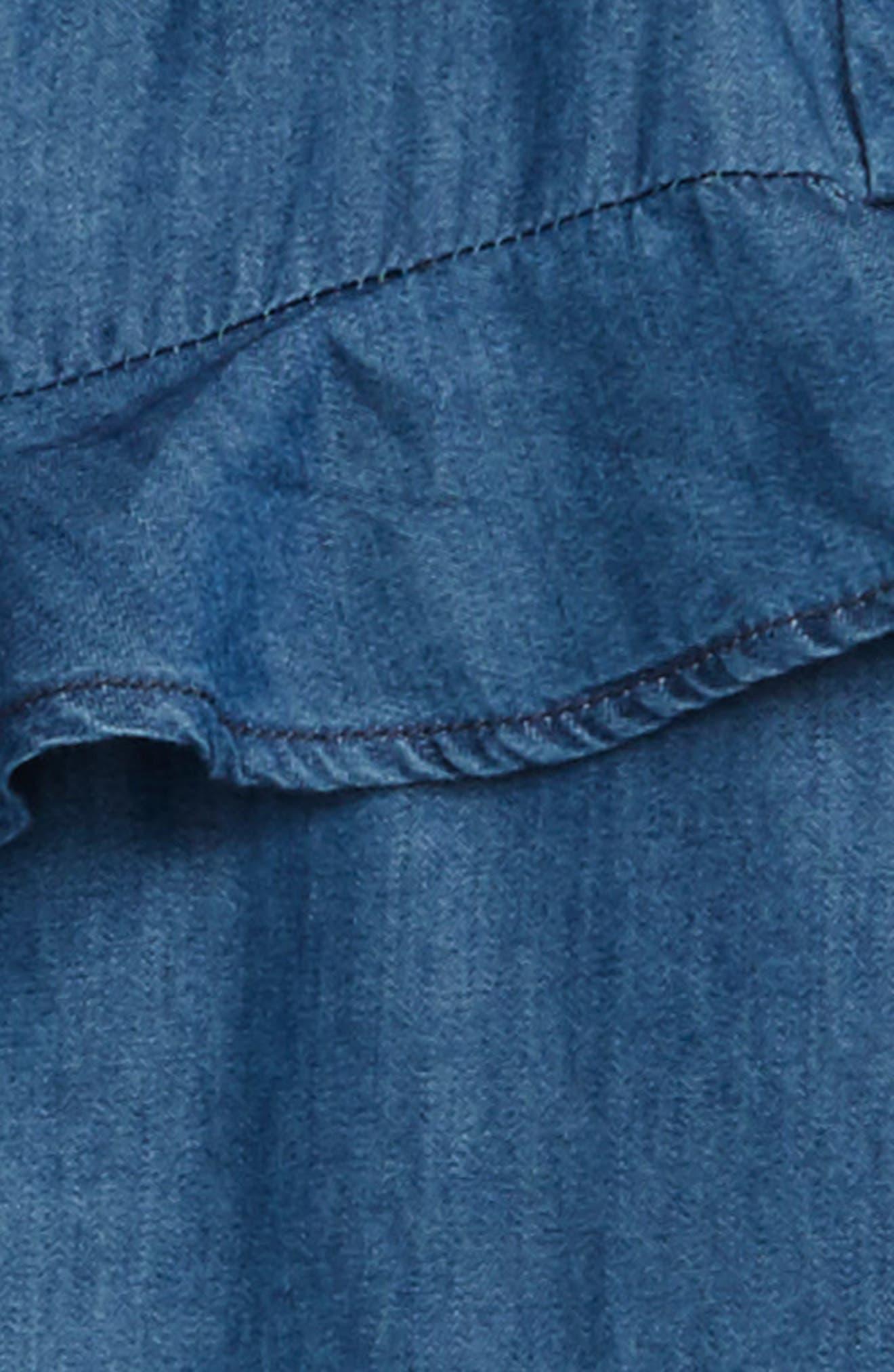 Ruffle Denim Jacket,                             Alternate thumbnail 2, color,                             Host Wash Blue