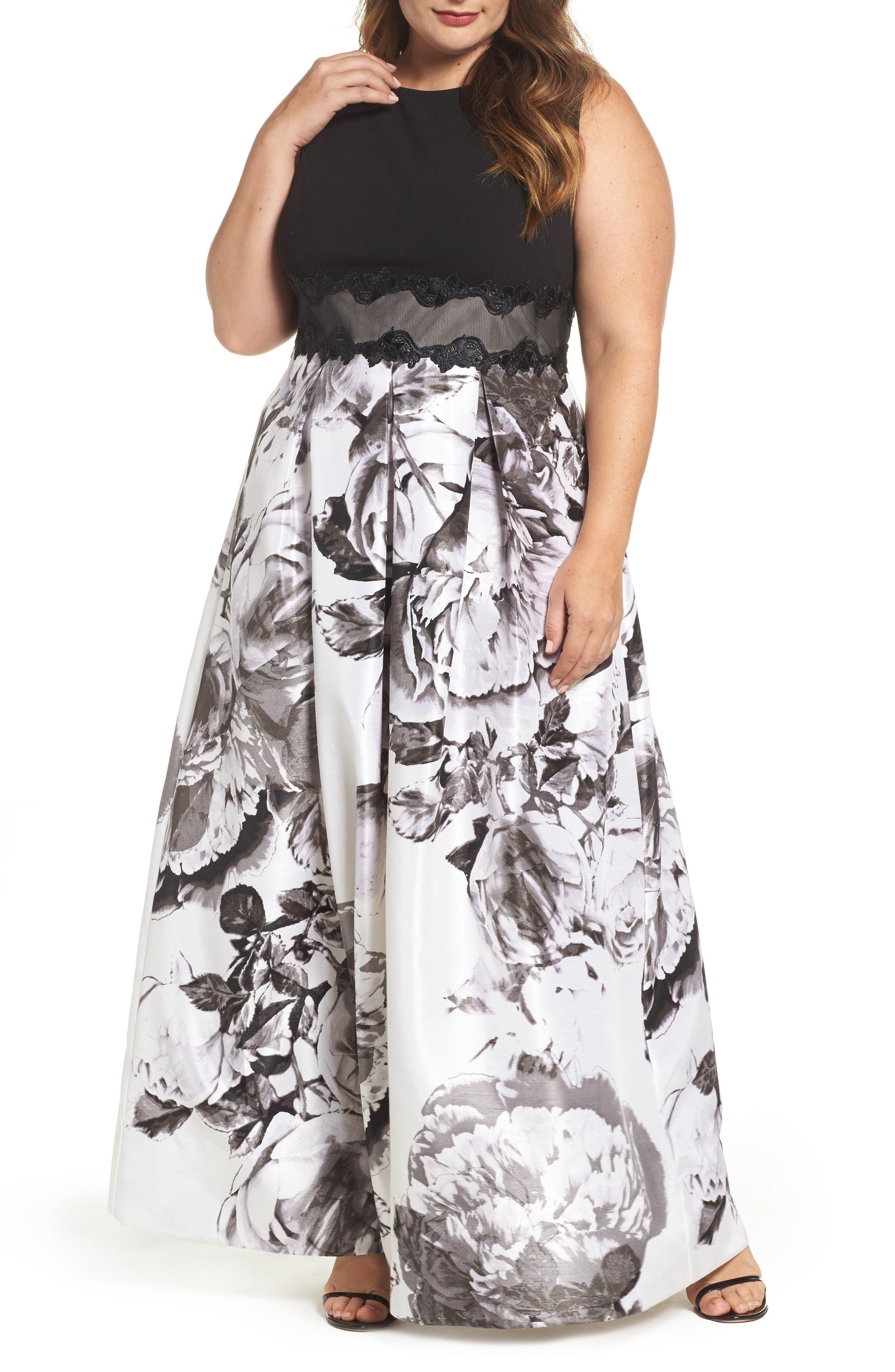 Main Image - Sangria Floral Print Ballgown (Plus Size)