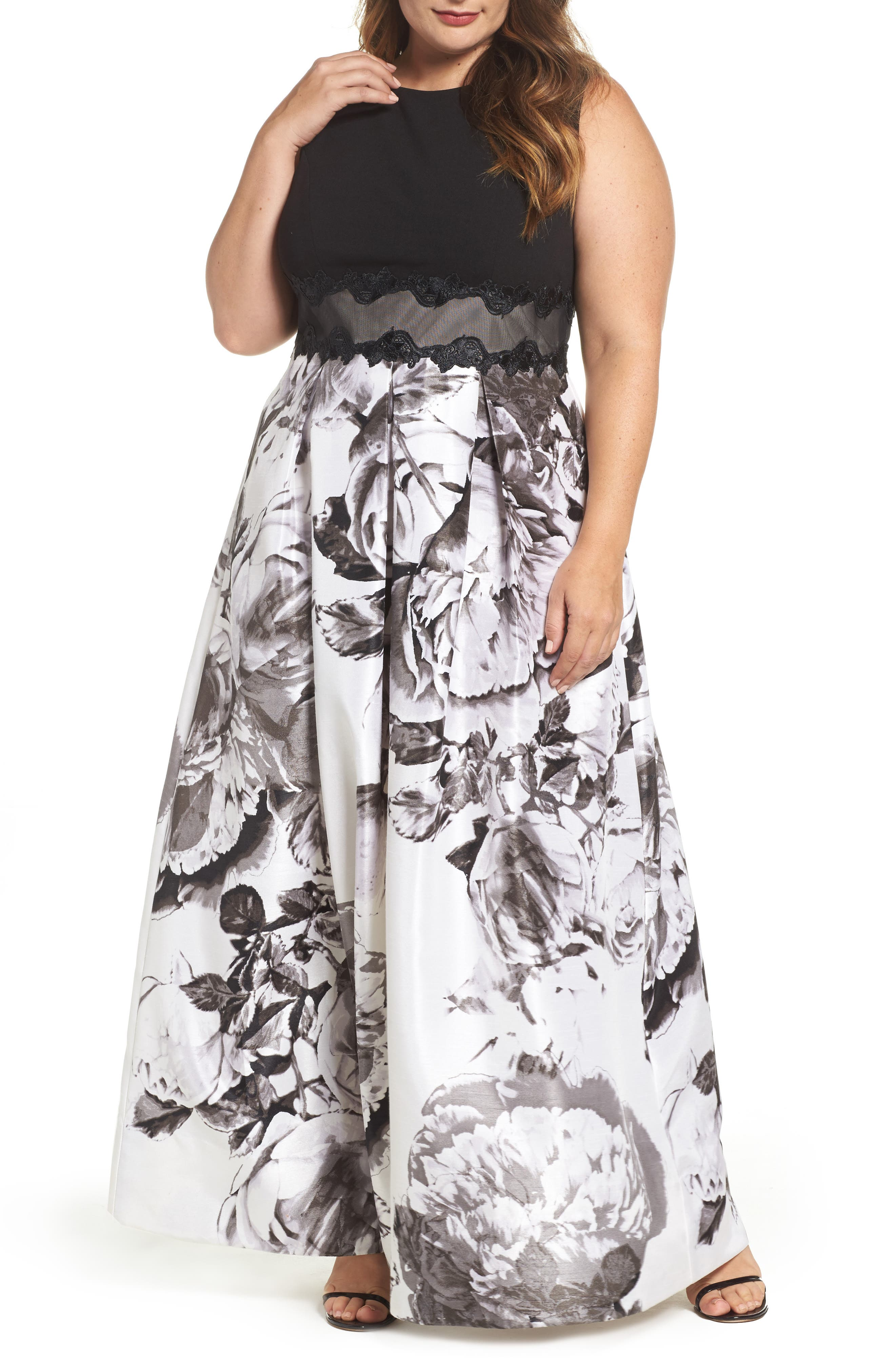 Floral Print Ballgown,                         Main,                         color, Multi