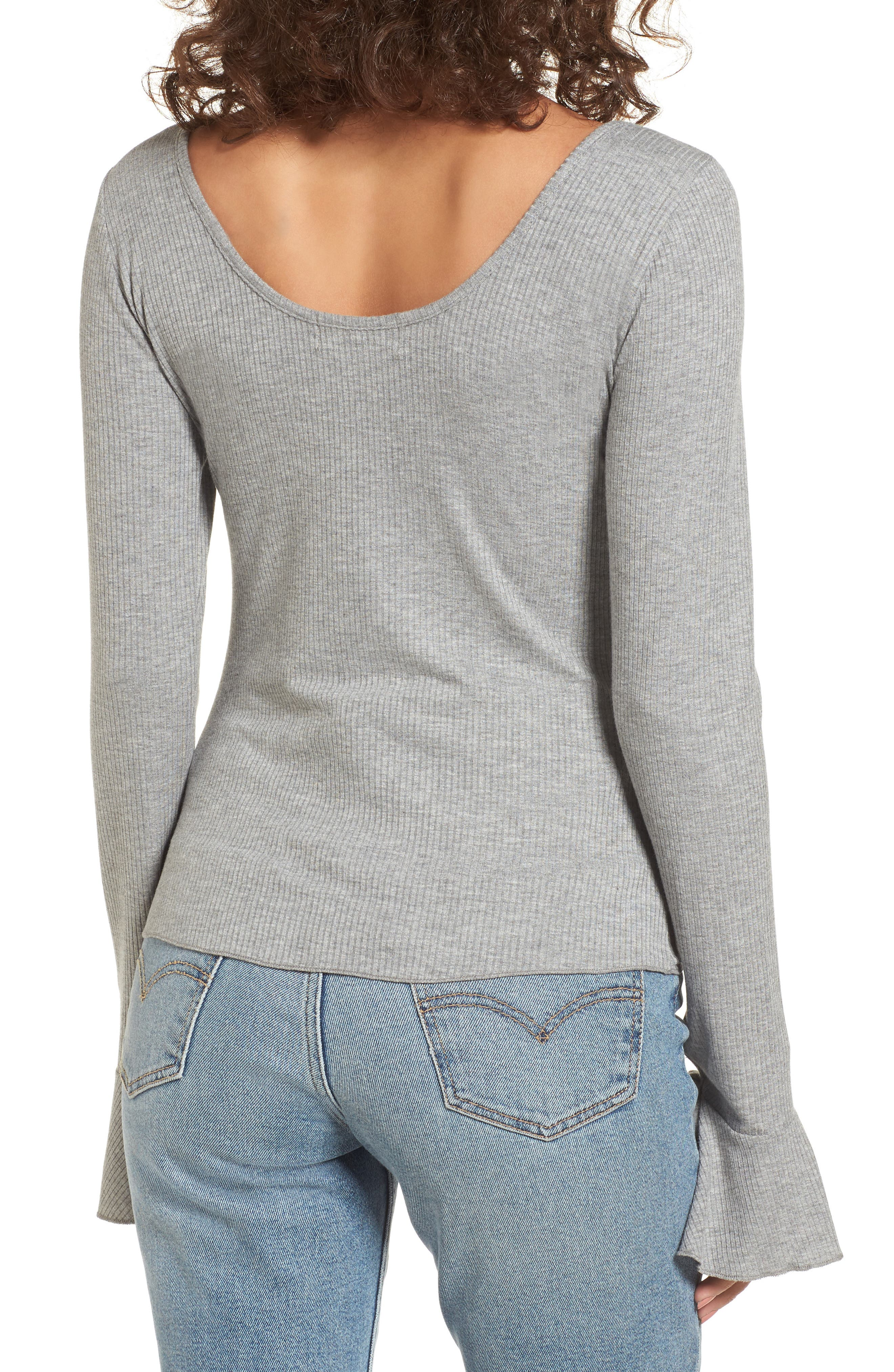 Tie Cuff Knit Top,                             Alternate thumbnail 2, color,                             Heather Grey