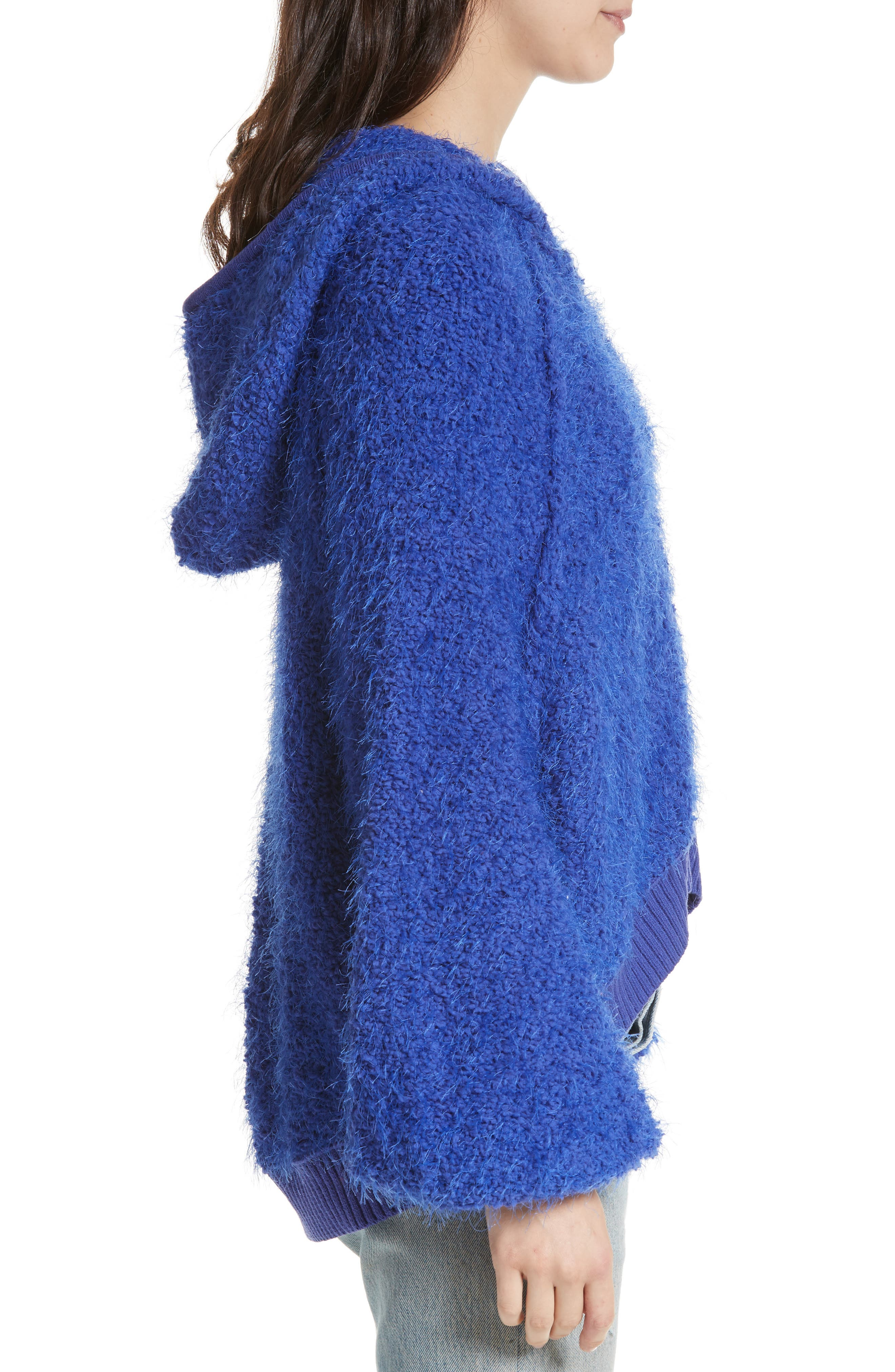 Furry Time Hooded Jacket,                             Alternate thumbnail 3, color,                             Blue