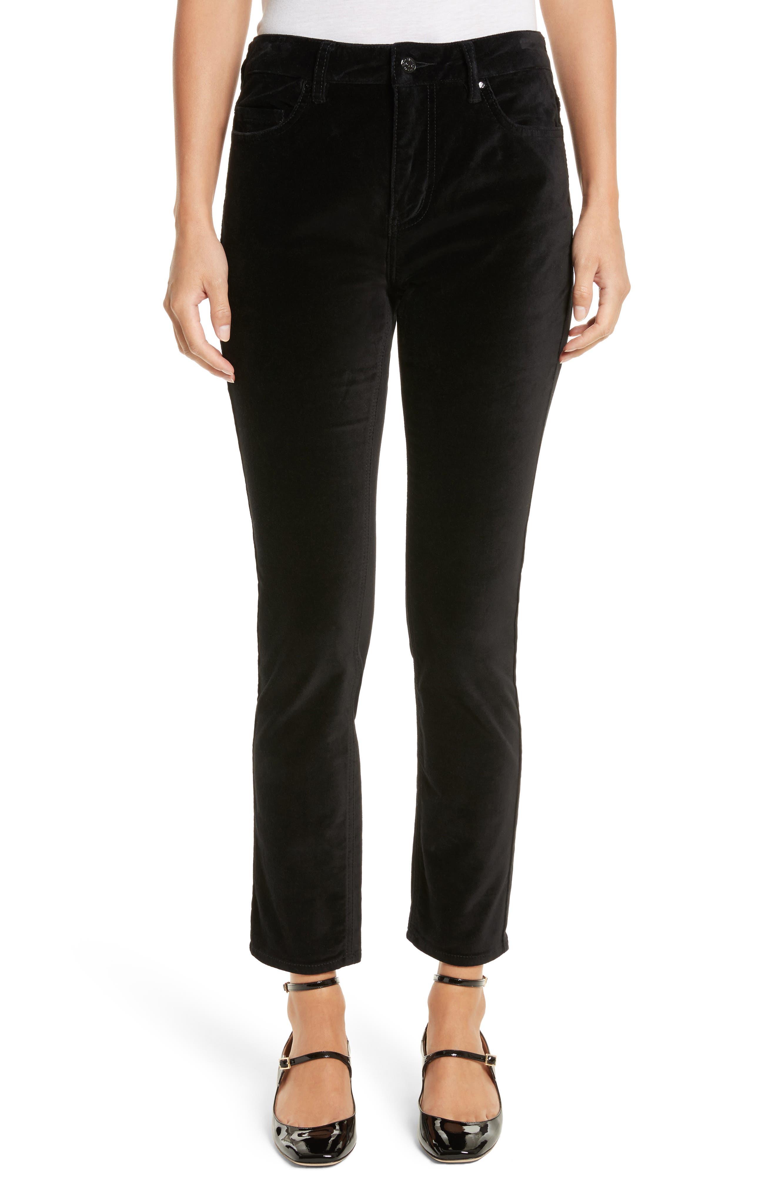 stretch velveteen ankle pants,                         Main,                         color, Black
