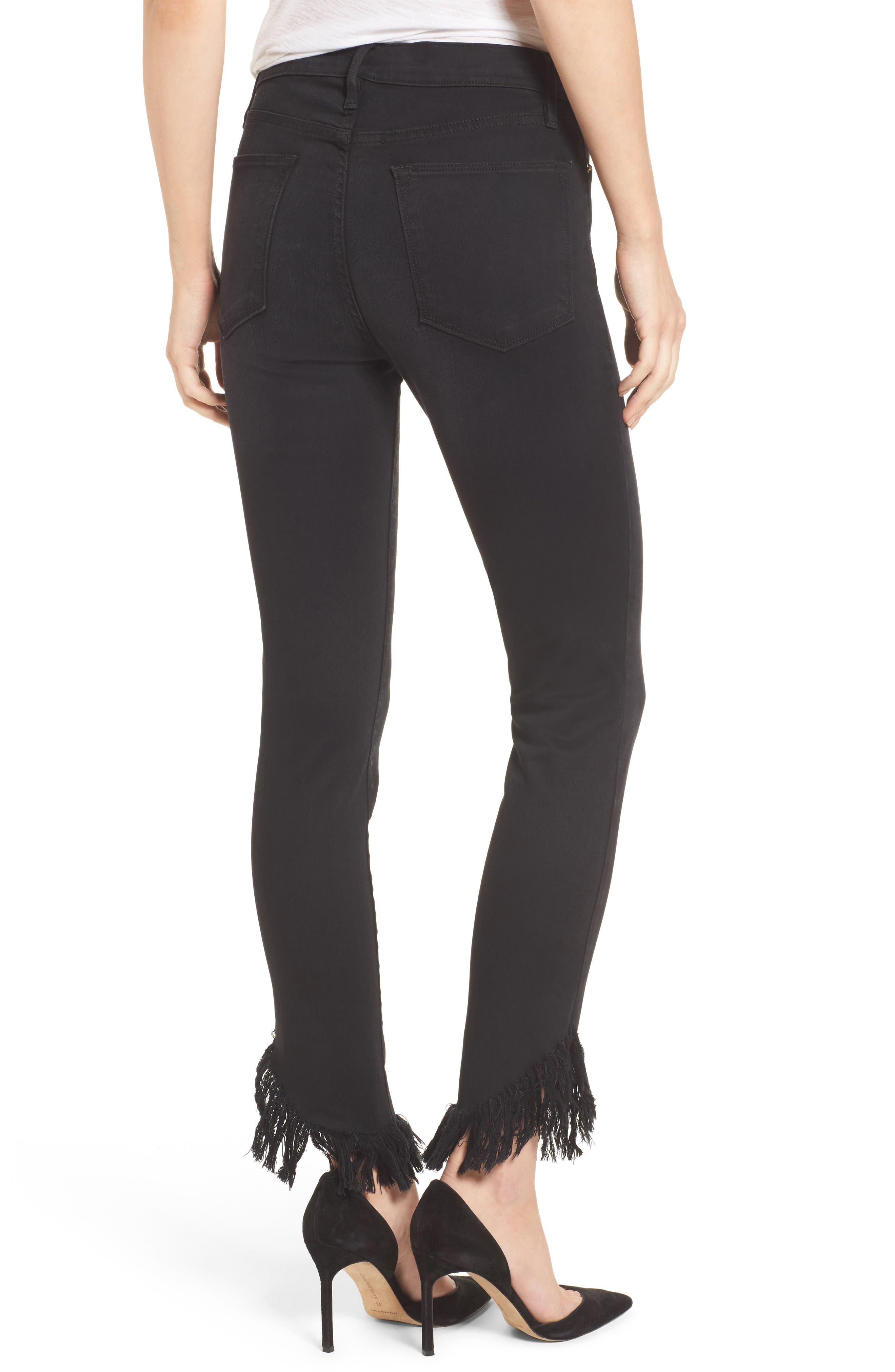 Alternate Image 3  - FRAME Le High Shredded Skinny Jeans (Noir) (Nordstrom Exclusive)