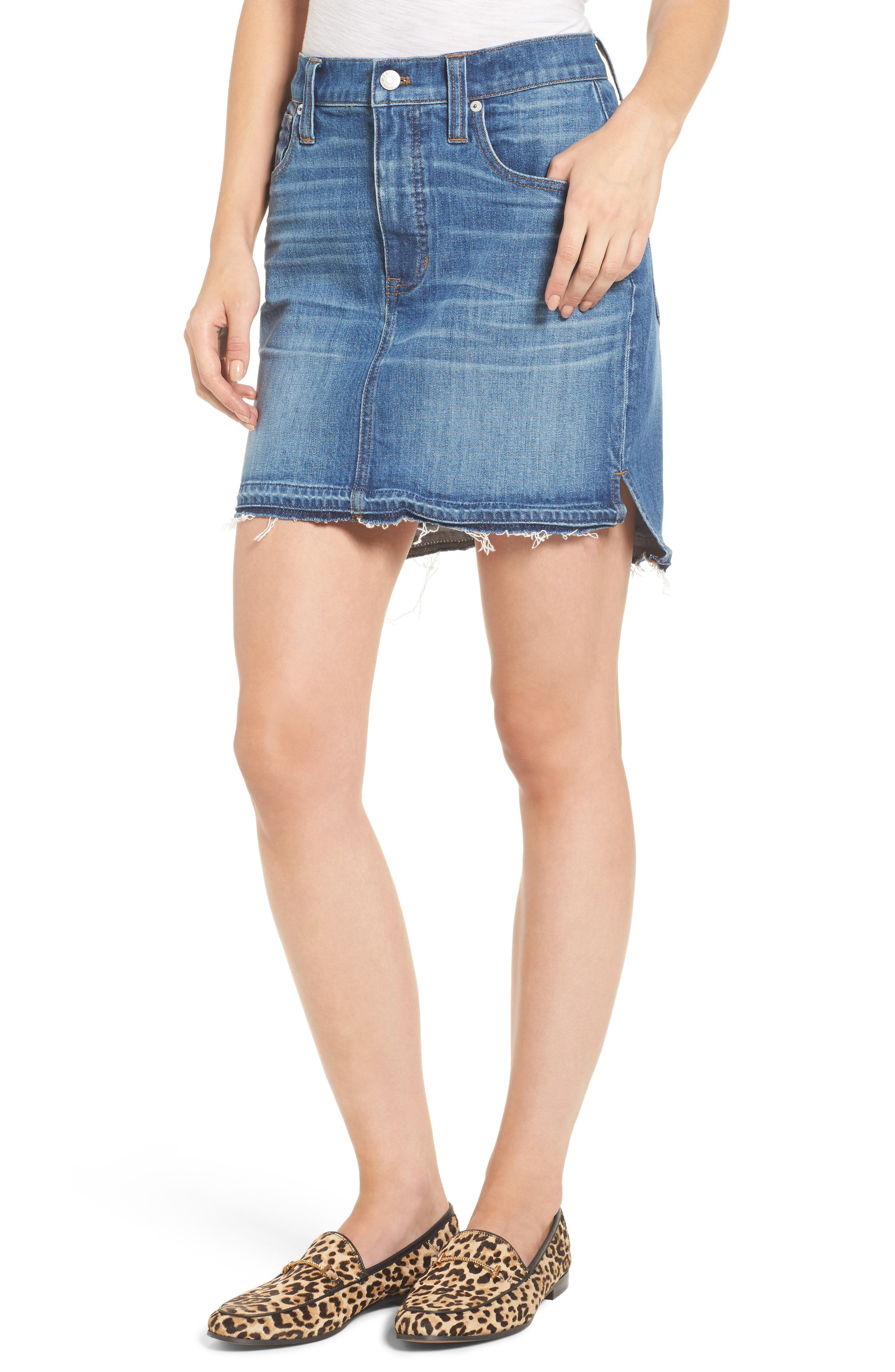 Madewell Step Hem Denim Skirt (Brandt Wash)
