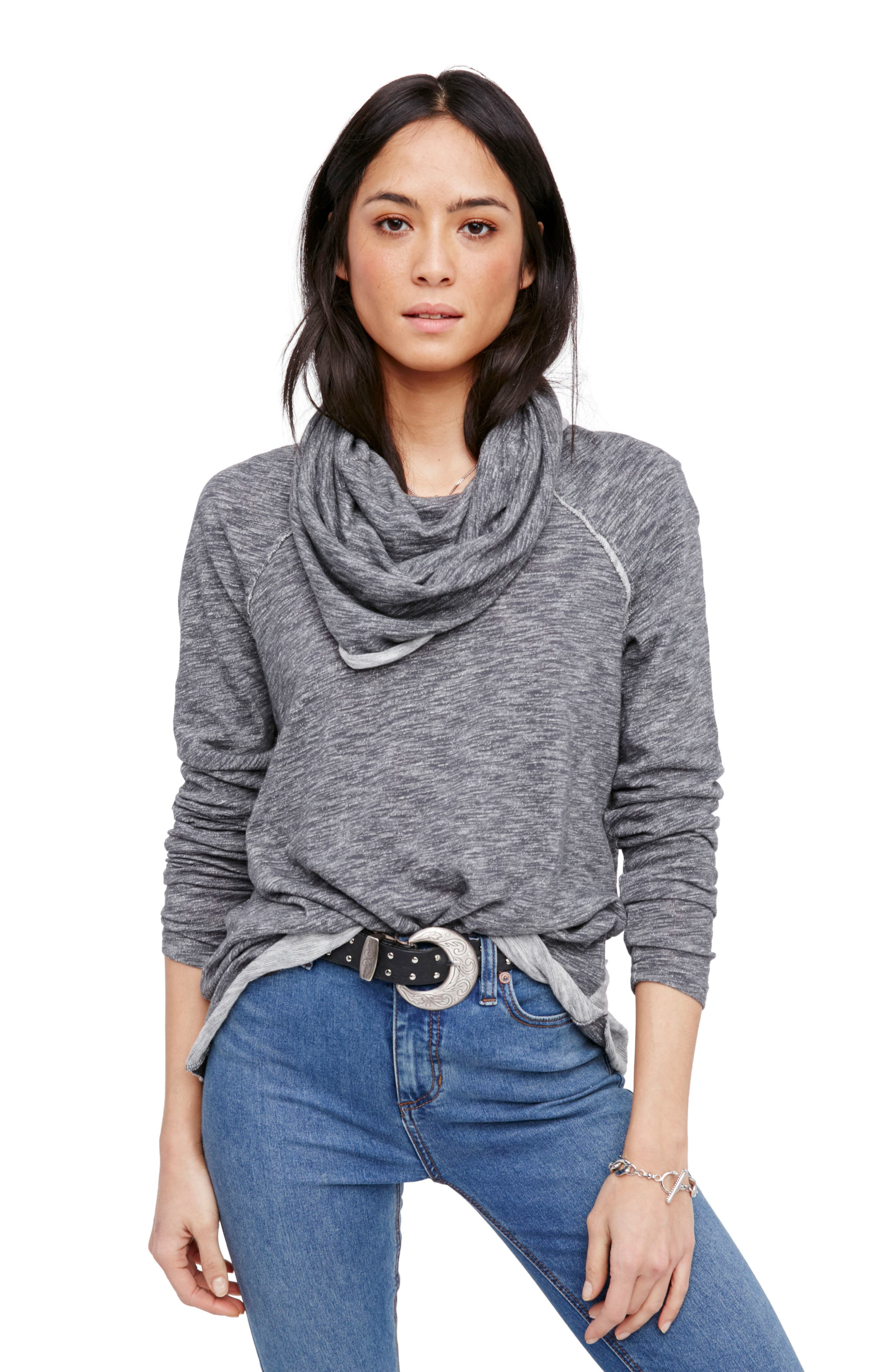 'Beach Cocoon' Cowl Neck Pullover,                         Main,                         color, Charcoal