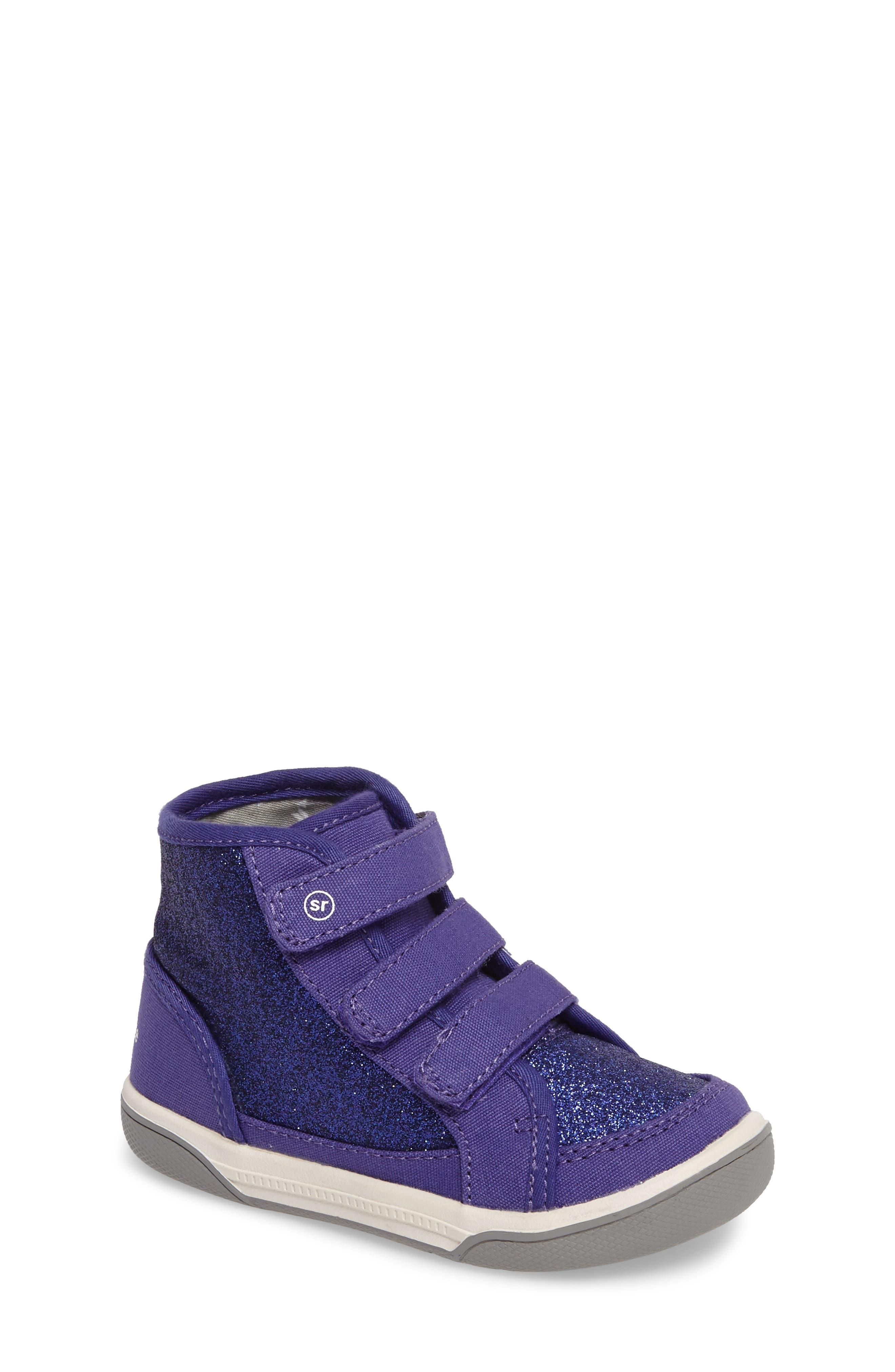 Stride Rite Ellis Glitter High Top Sneaker (Baby, Walker & Toddler)