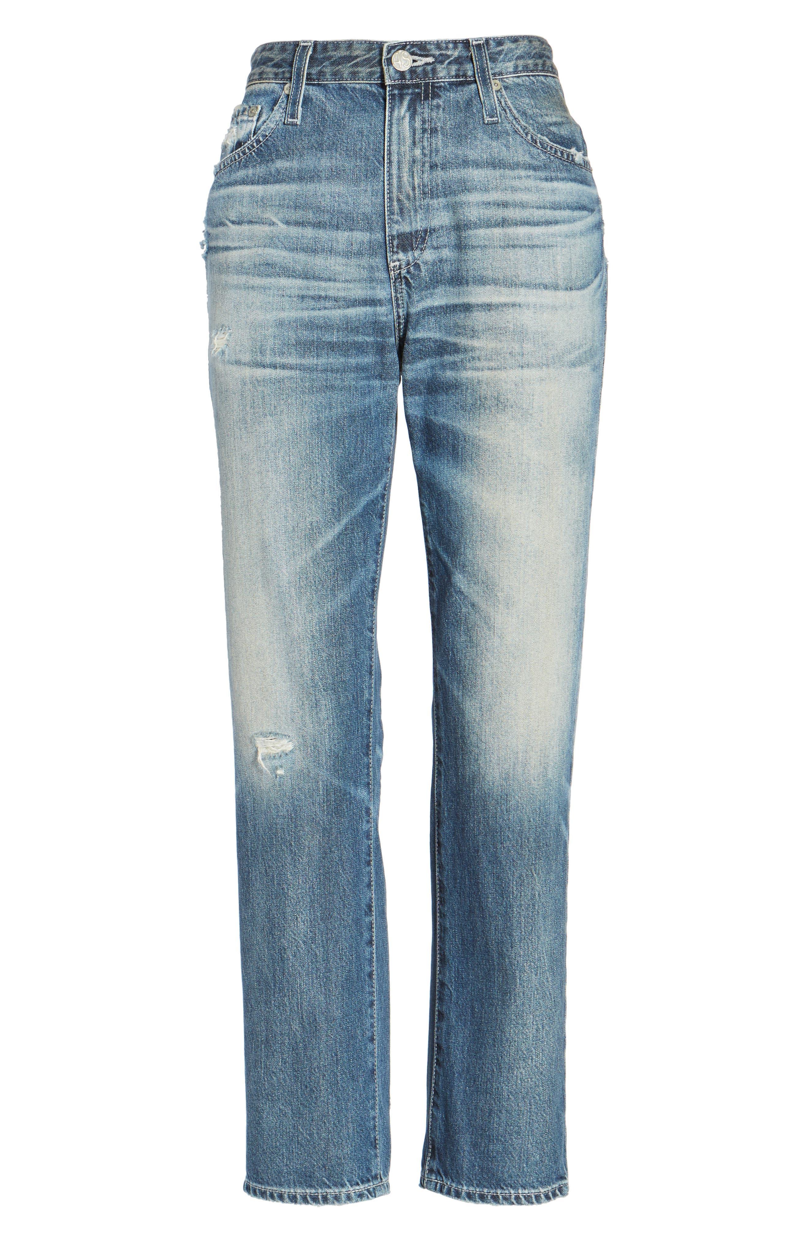 Alternate Image 6  - AG Isabelle High Waist Straight Leg Crop Jeans (23 Years Wind Worn)