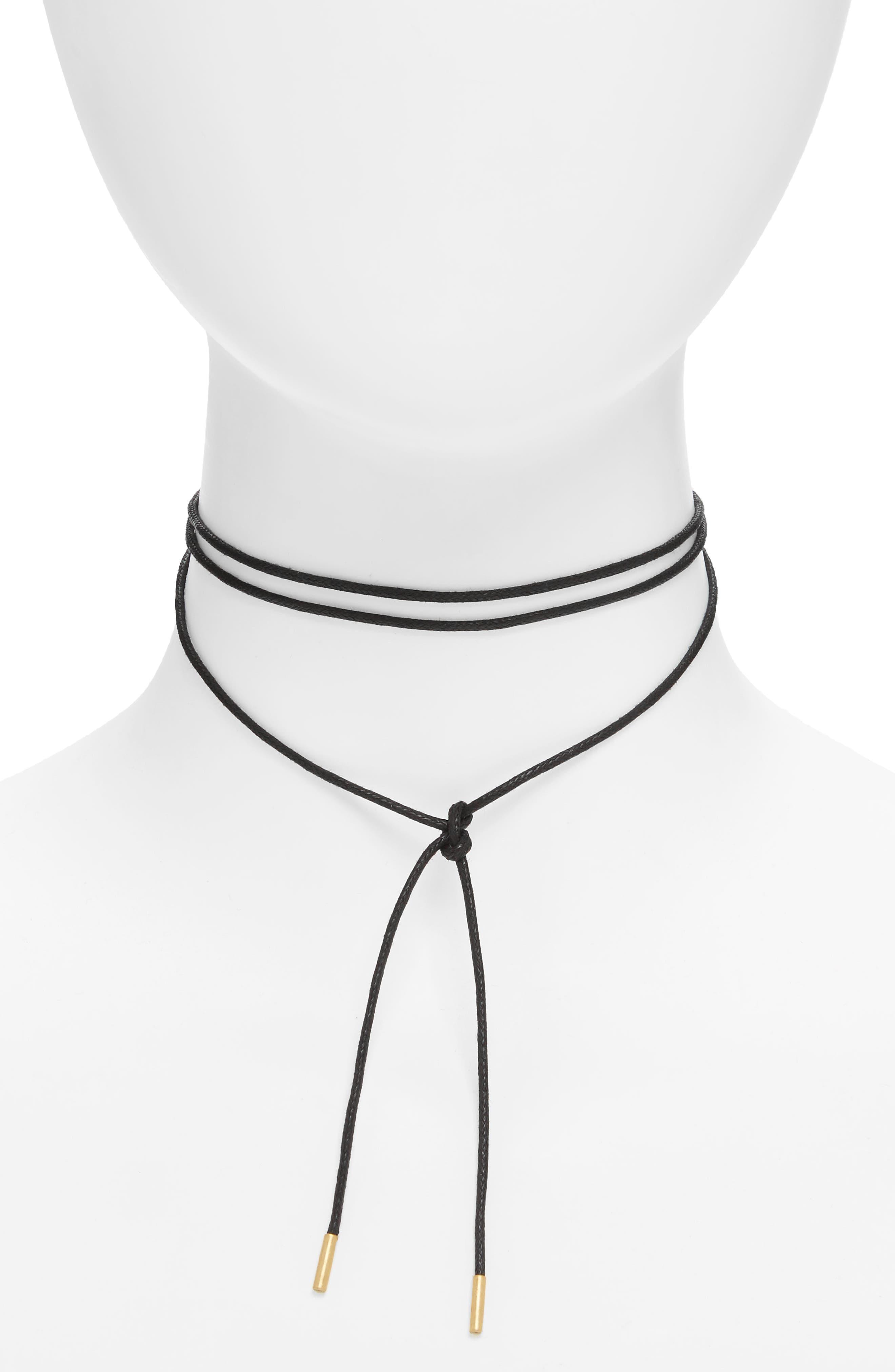Wrap Choker Necklace,                         Main,                         color, True Black