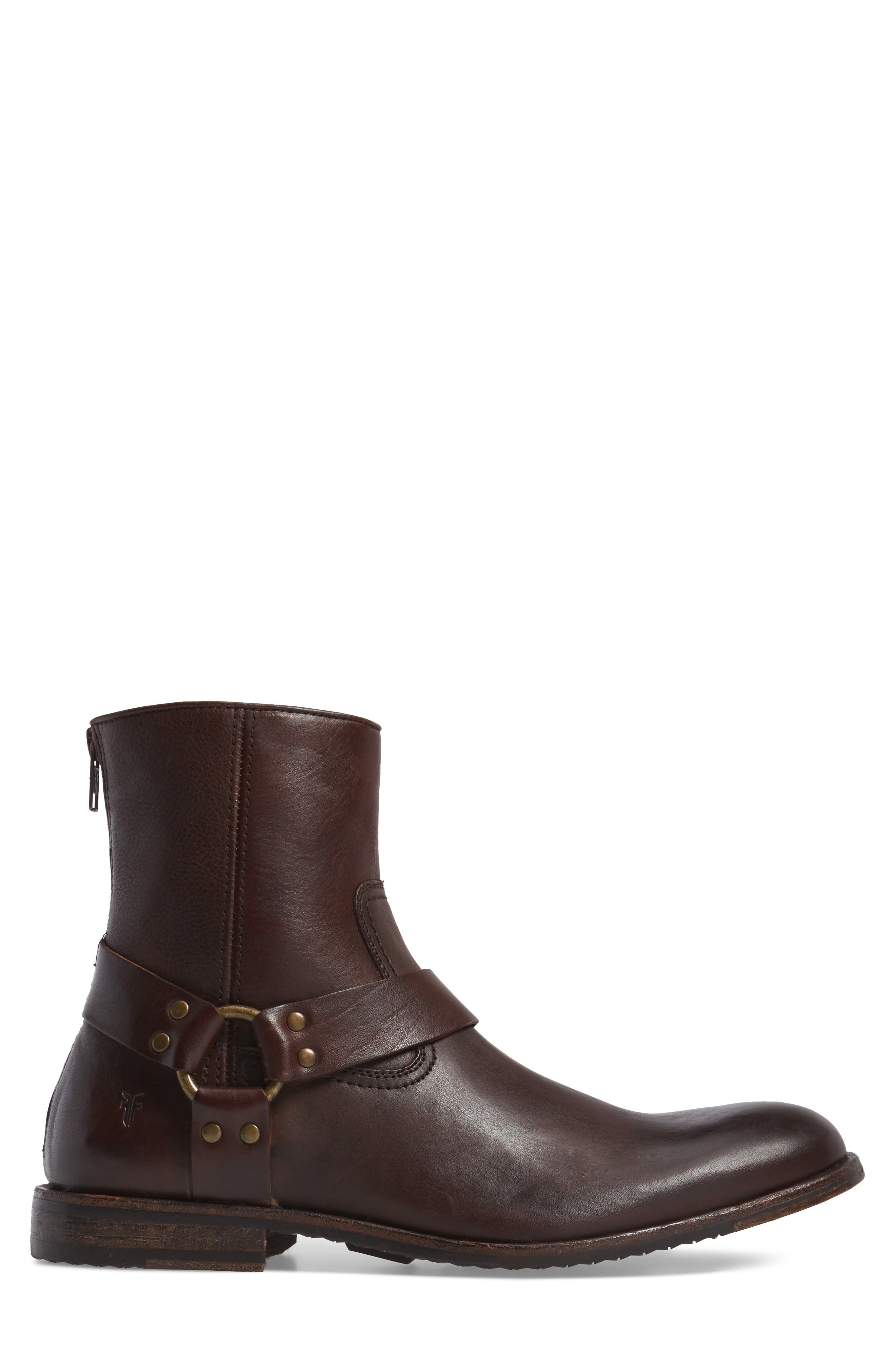 Sam Harness Boot,                             Alternate thumbnail 3, color,                             Dark Brown Leather