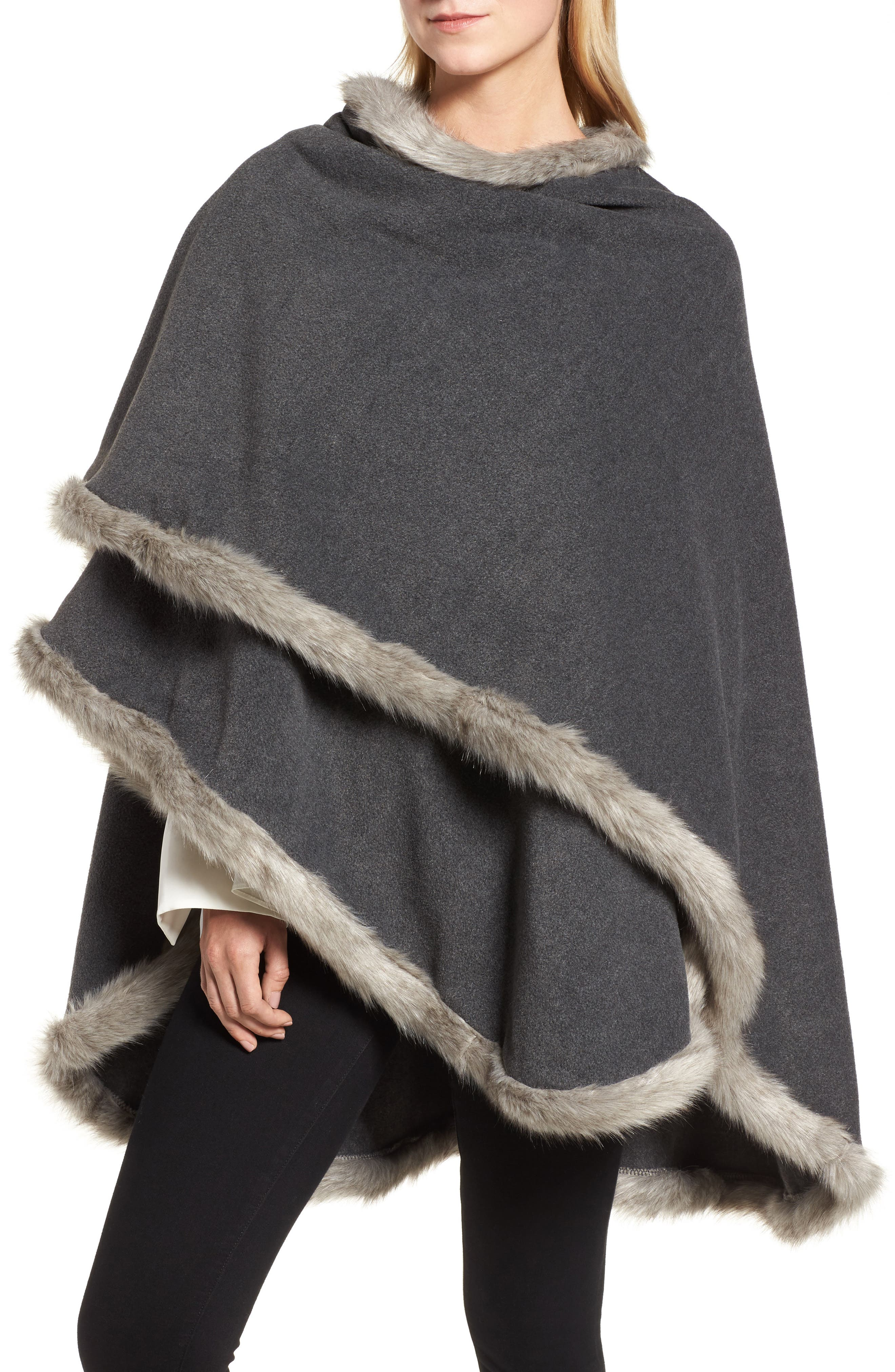 Tara Faux Fur Trim Wrap,                             Alternate thumbnail 4, color,                             Charcoal/ Granite Fox